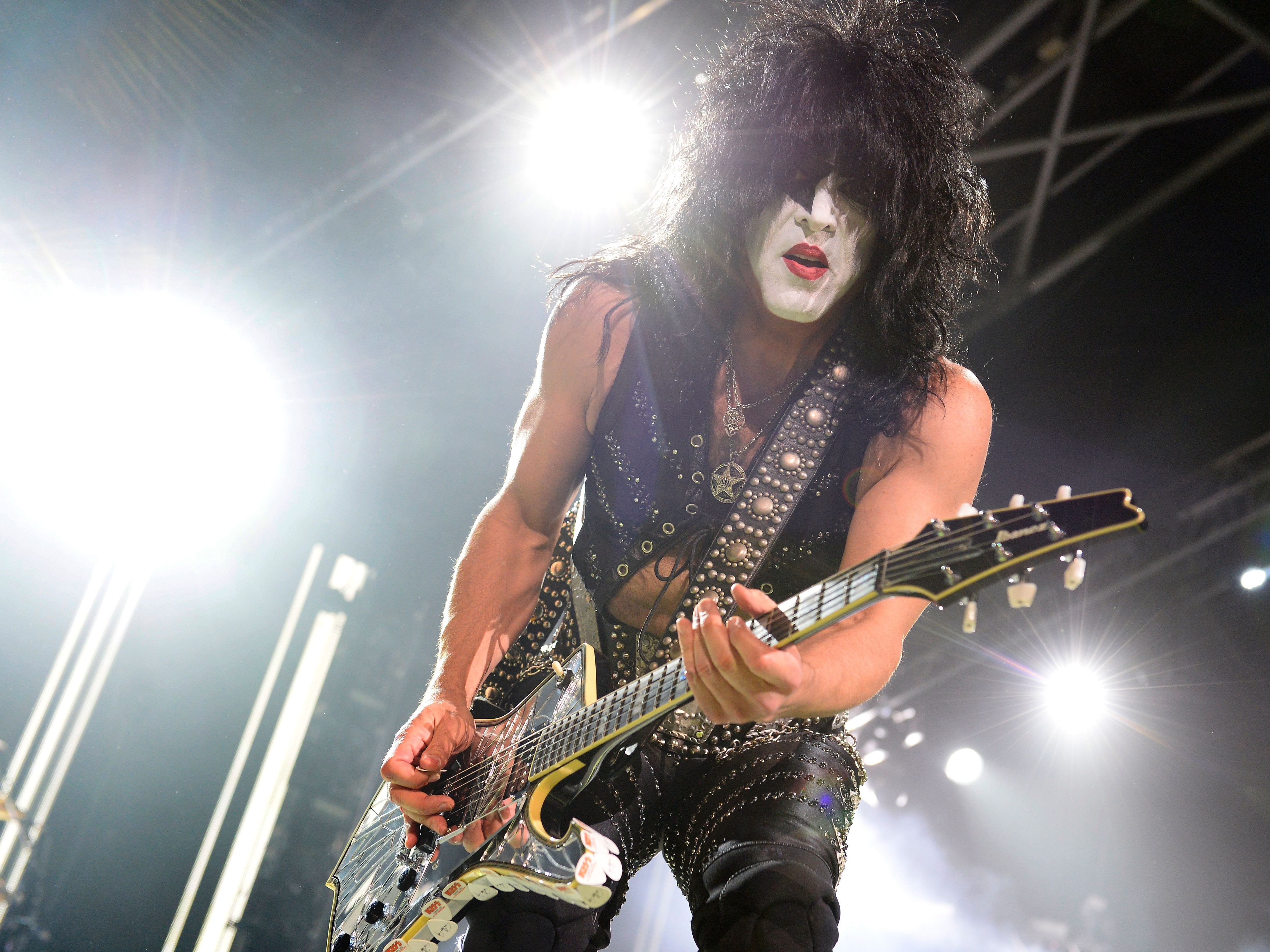 US singer and guitarist Paul Stanley of US rock band Kiss performs on stage at the Zenith in Paris on June 16, 2015. AFP PHOTO / BERTRAND GUAY / AFP / BERTRAND GUAY        (Photo credit should read BERTRAND GUAY/AFP/Getty Images)