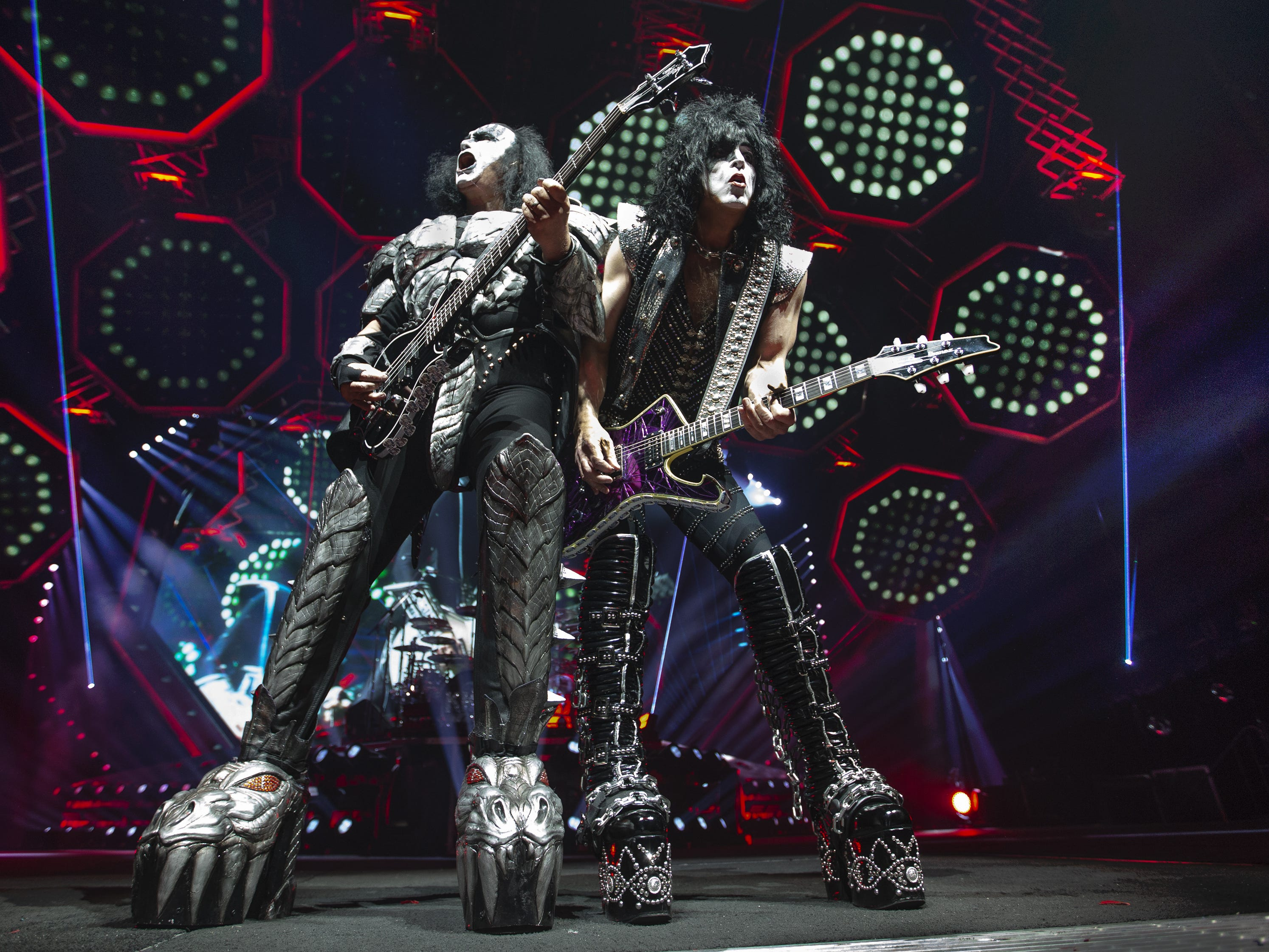 "Gene Simmons and Paul Stanley of Kiss play ""Shout It Out Loud"" at Gila River Arena during the End of the Road World Tour stop in Glendale, Wednesday, Feb. 13, 2019. Thousands of fans came to see the band's farewell concert."