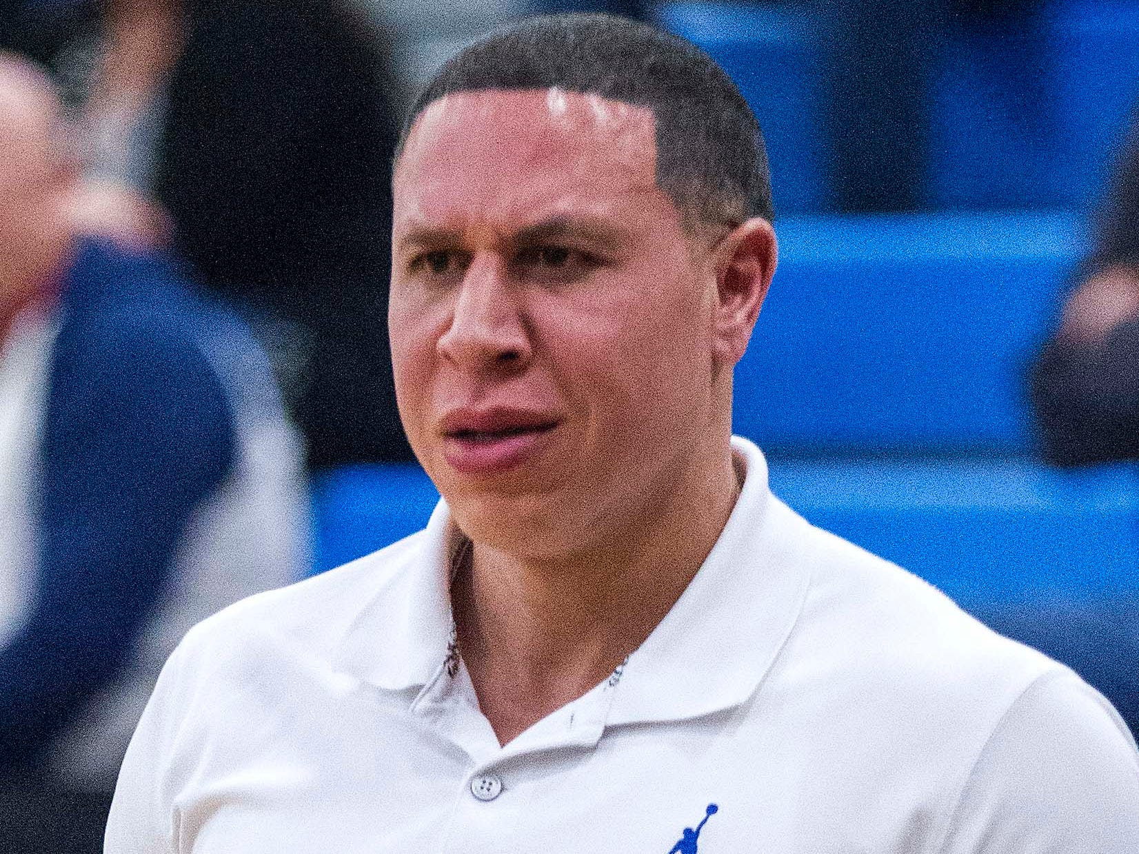 Shadow Mountain head coach Mike Bibby watches his team on offense against Moon Valley during the second half of their game in Phoenix, Feb. 12,  2019.
