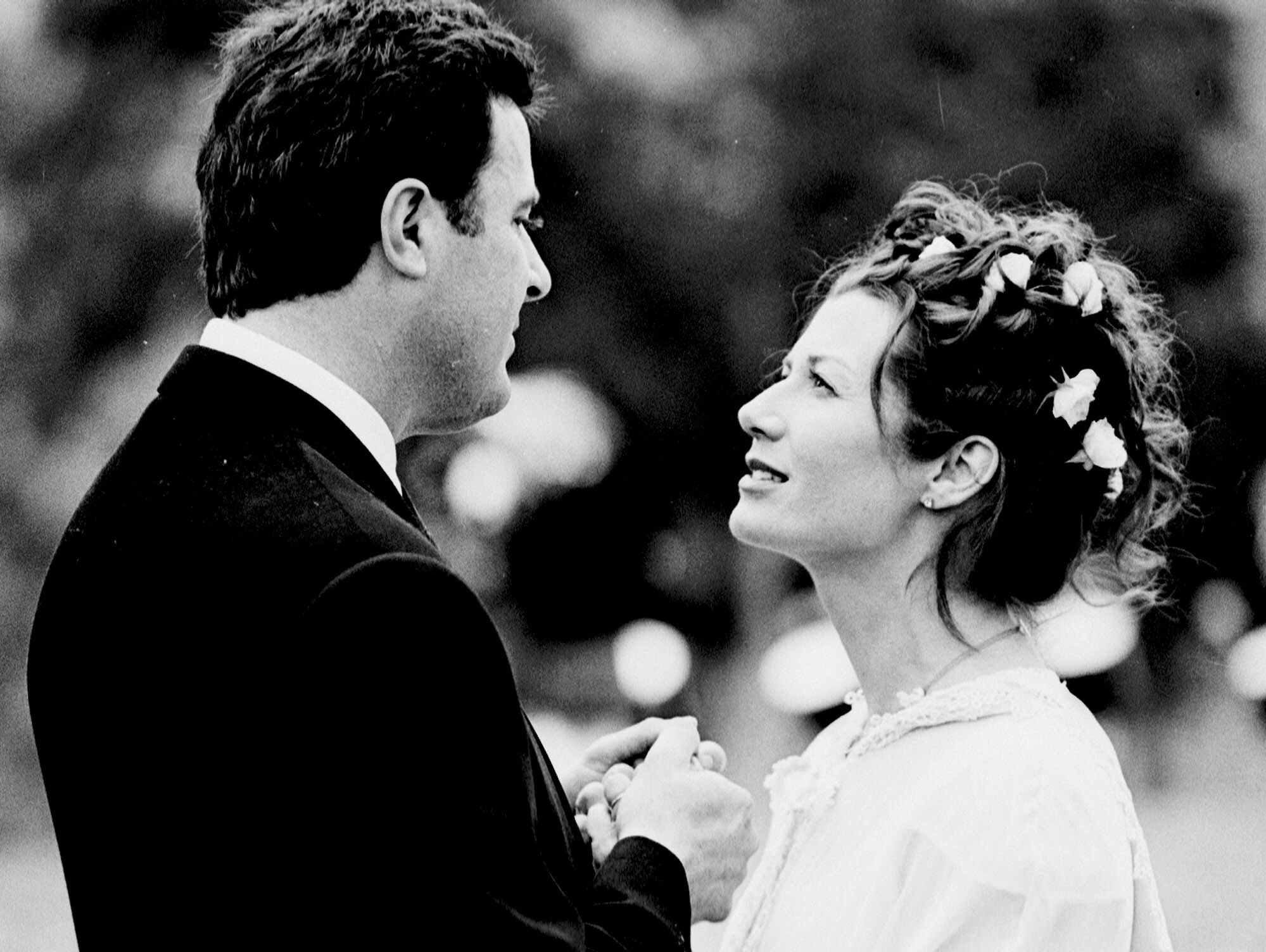Vince Gill and Amy Grant are seen at their wedding on Friday, March 10, 2000, in Nashville, Tennessee. The couple, he one of the biggest stars in country music and she the most famous singer to come out of Christian music, were married in Williamson County south of Nashville.