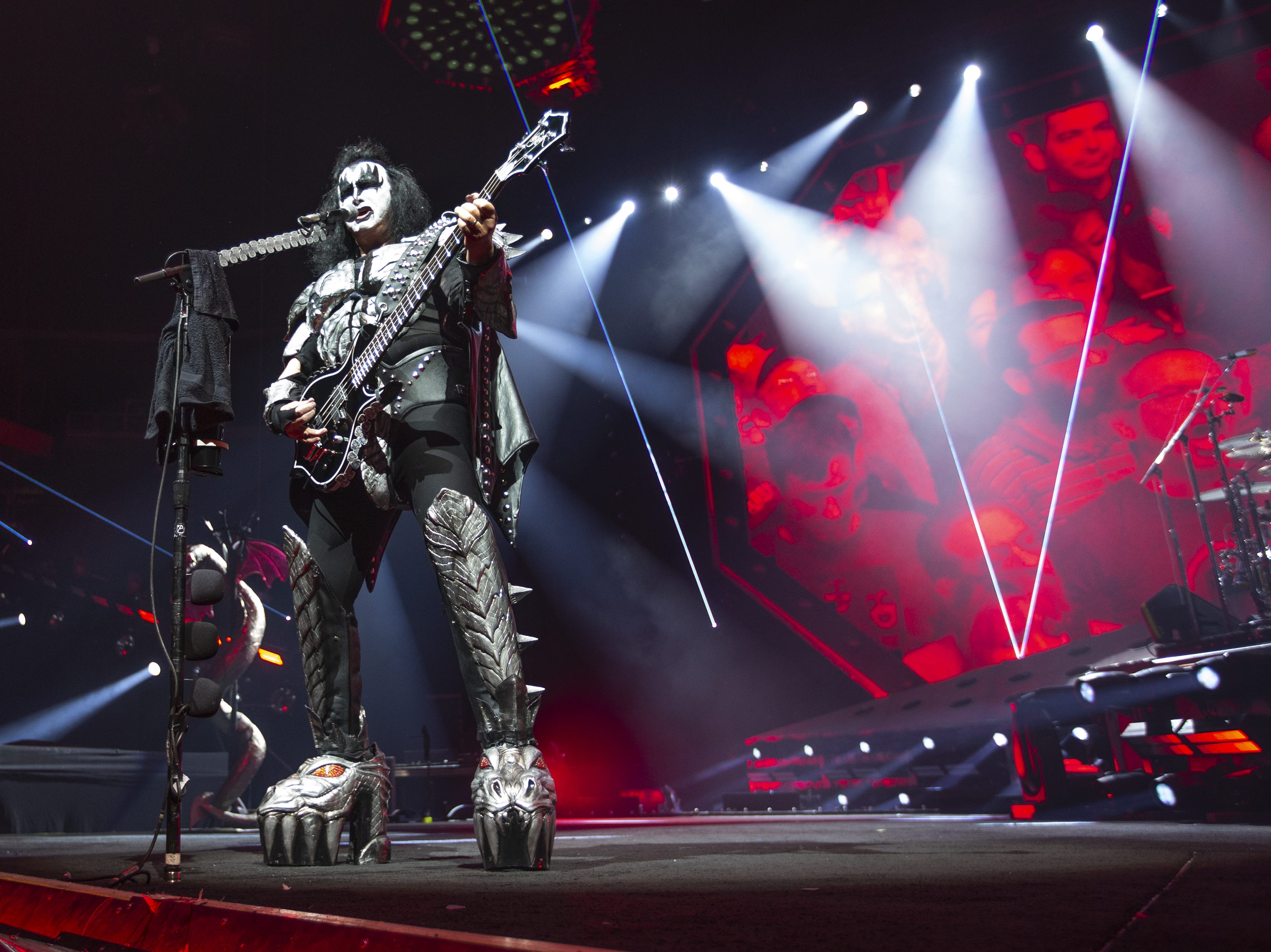 "Gene Simmons sings ""Shout It Out Loud"" at Gila River Arena during the End of the Road World Tour stop in Glendale on Wednesday, Feb. 13, 2019.  Thousands of fans came to see the band's farewell concert."