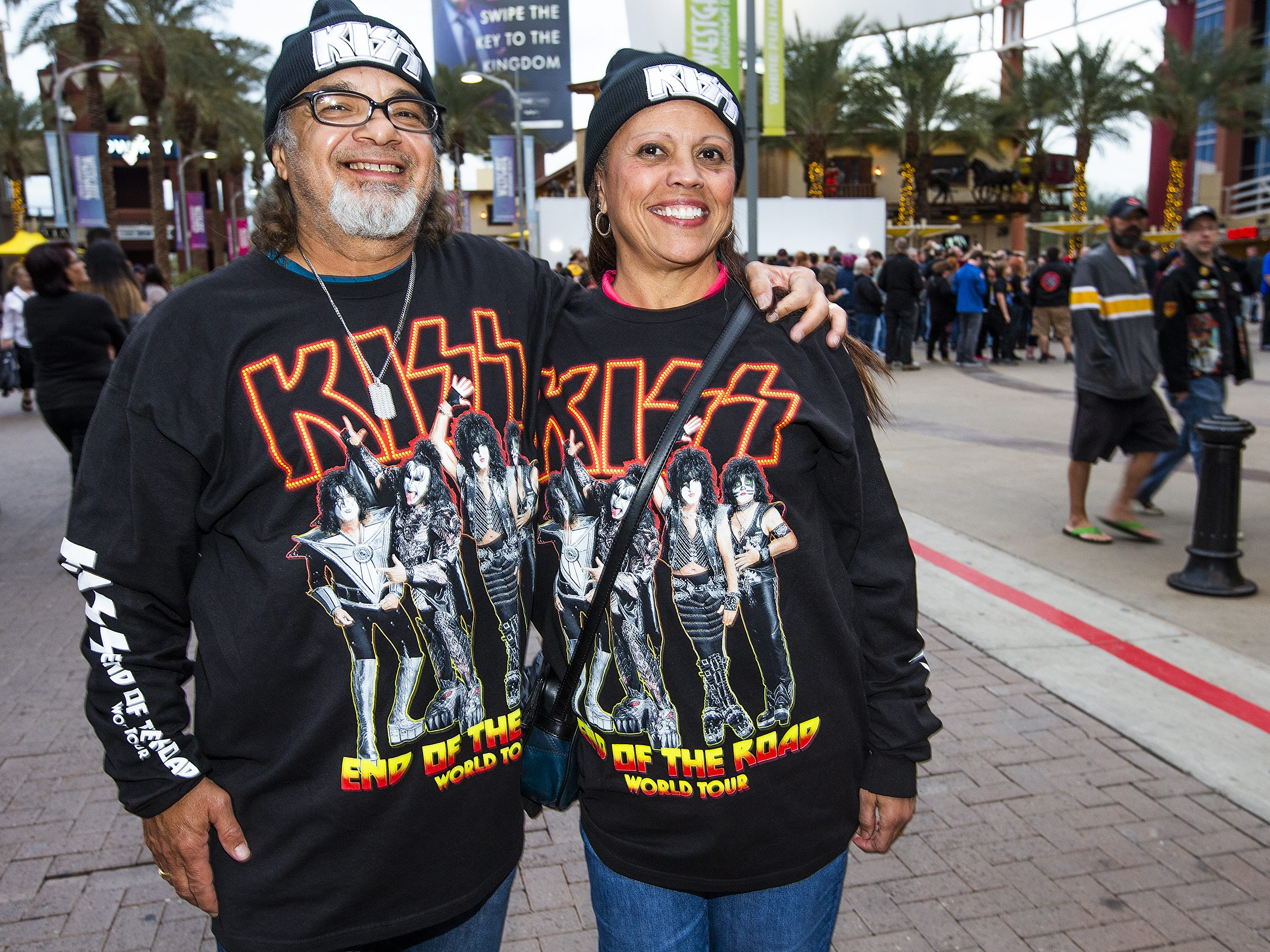 Antonio Castro and his wife, Louise, 60, drove all the way from El Paso, Texas, to show off their best Kiss makeup prior to the concert by the famed group at Gila River Arena in Glendale, Wednesday, Feb. 13, 2019. The concert was part of the End of the Road World Tour, the band's farewell to the fans.