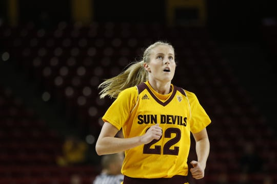 ASU's Courtney Ekmark (22) runs the floor during a game against Arizona on Feb. 16 at Wells Fargo Arena.
