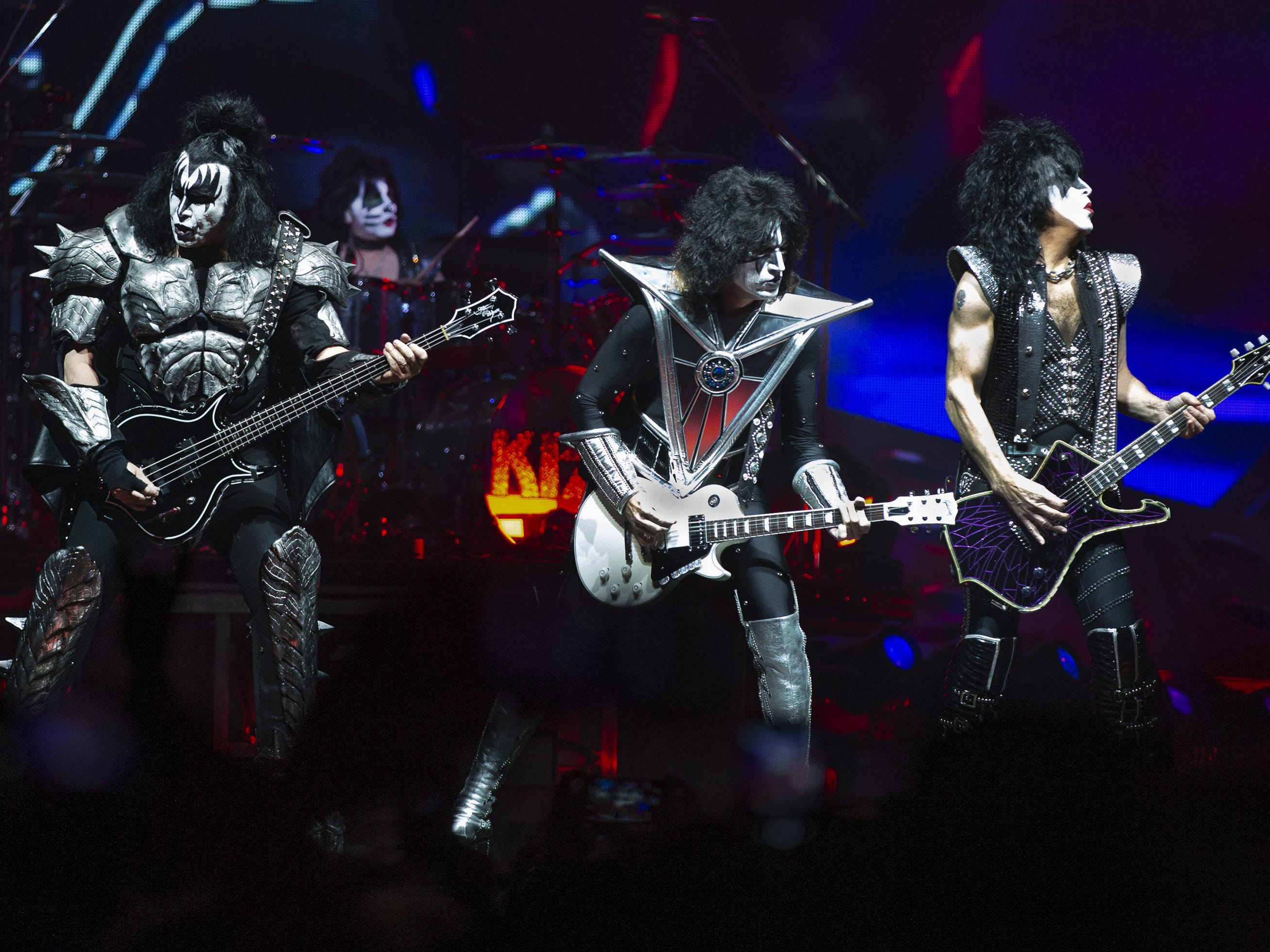 "Kiss plays the opening number, ""Detroit Rock City,"" at Gila River Arena during the End of the Road World Tour stop in Glendale, Wednesday, Feb. 13, 2019. Thousands of fans came to see the band's farewell concert. From left to right are Gene Simmons, Eric Singer, Tommy Thayer and Paul Stanley."
