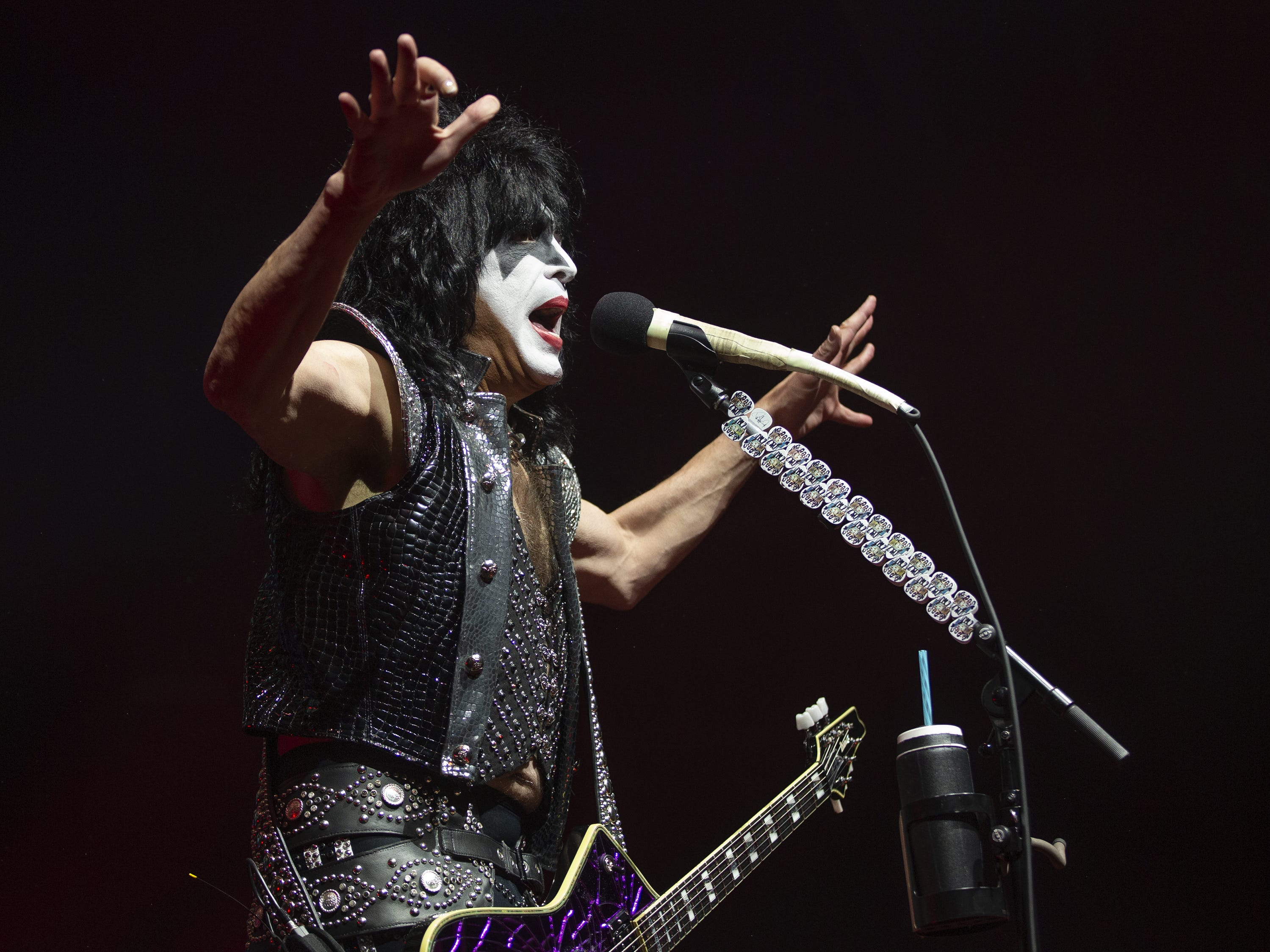 "Paul Stanley of Kiss plays ""Shout It Out Loud"" at Gila River Arena during the End of the Road World Tour stop in Glendale, Wednesday, Feb. 13, 2019. Thousands of fans came to see the band's farewell concert."