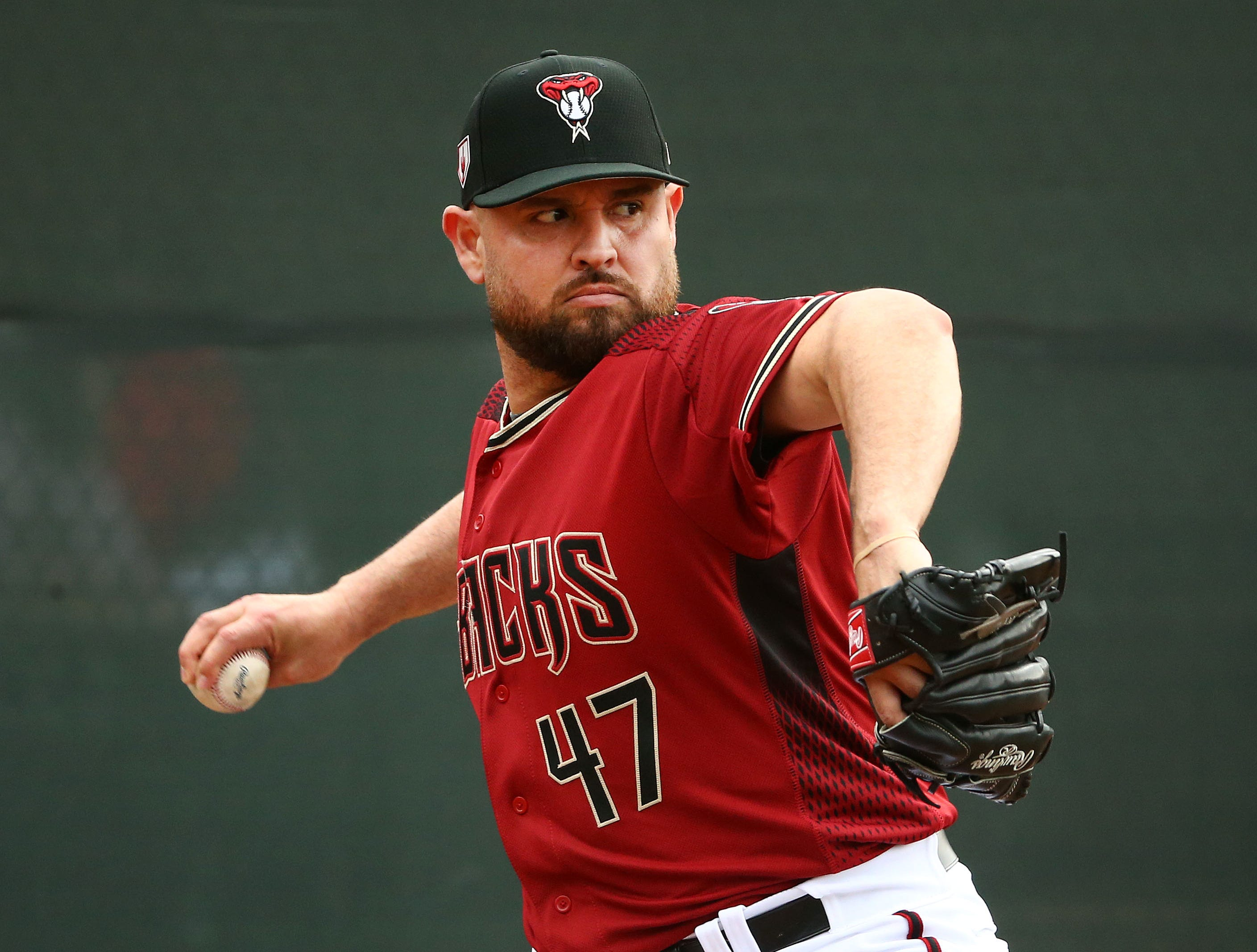 Arizona Diamondbacks pitcher Ricky Nolasco during the first day of spring training workouts on Feb. 13 at Salt River Fields in Scottsdale.