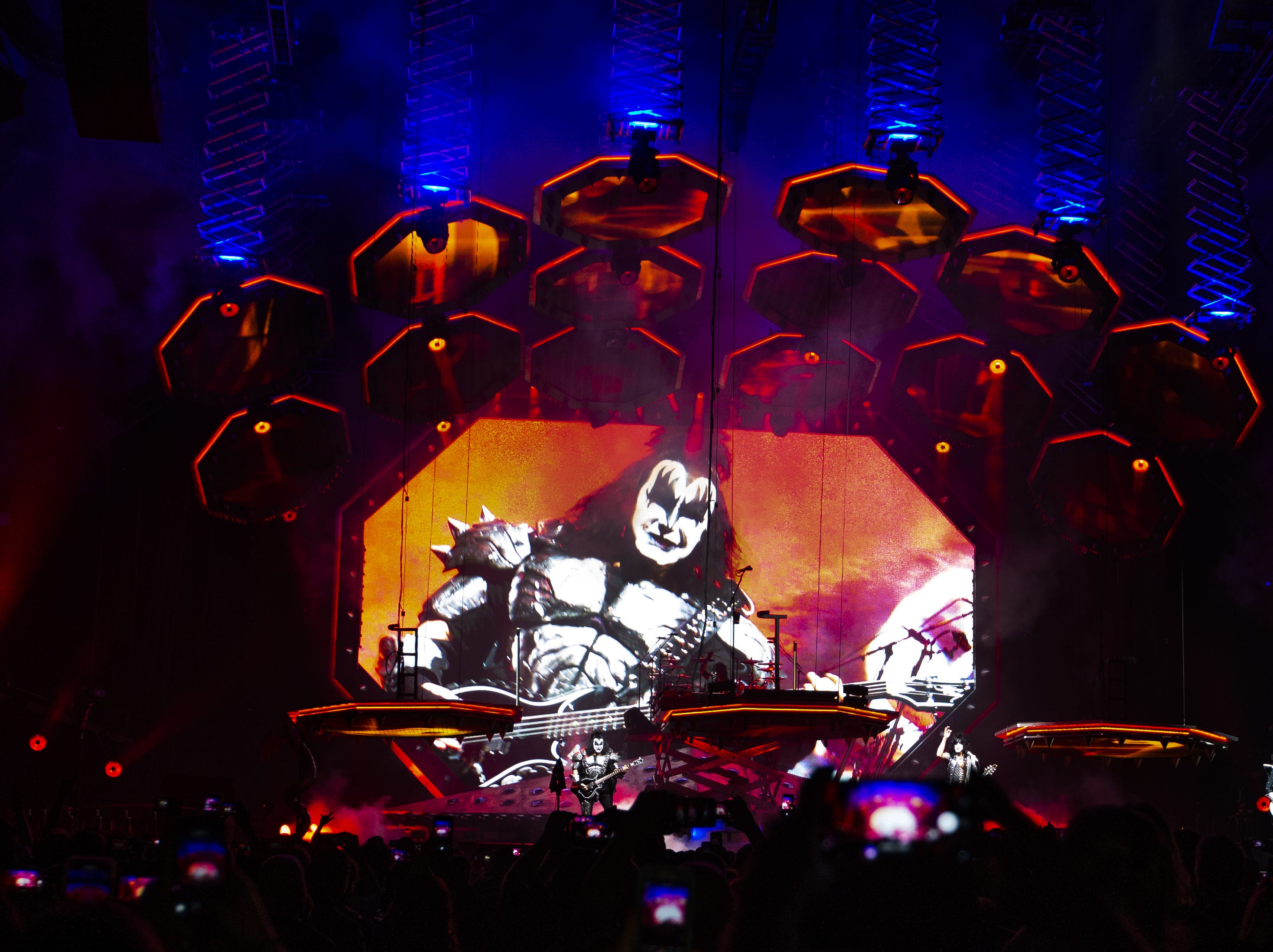 KISS rocks Gila River Arena during the End of the Road World Tour stop in Glendale on Wednesday, Feb. 13, 2019.  Thousands of fans came to see the band's farewell concert.