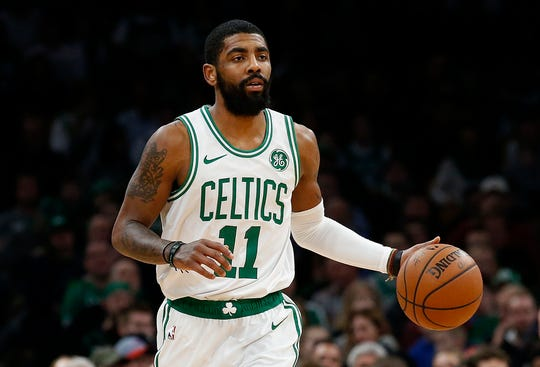 Boston Celtics' Kyrie Irving during the second quarter of an NBA basketball game against the Memphis Grizzlies Friday, Jan. 18, 2019, in Boston. (AP Photo/Winslow Townson)