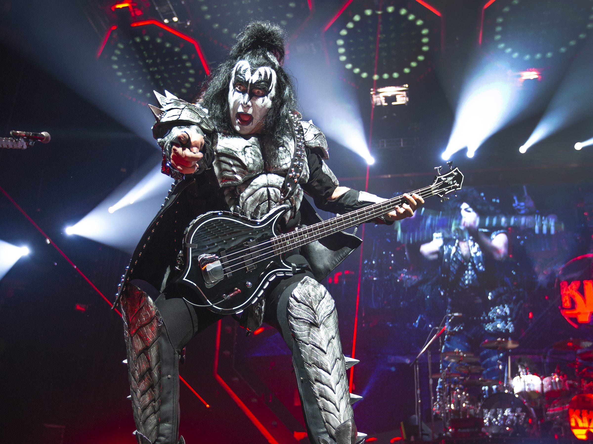 "Gene Simmons of Kiss sings ""Shout It Out Loud"" at Gila River Arena during the End of the Road World Tour stop in Glendale, Wednesday, Feb. 13, 2019. Thousands of fans came to see the band's farewell concert."