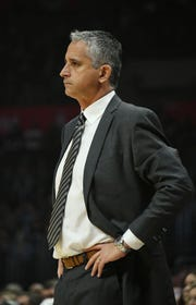 Feb 13, 2019; Los Angeles, CA, USA; Phoenix Suns head coach Igor Kokoskov reacts against the LA Clippers in the first half at Staples Center. Mandatory Credit: Richard Mackson-USA TODAY Sports
