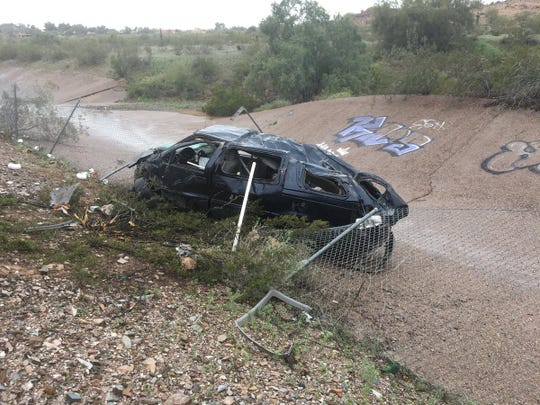 Two people were seriously hurt in a rollover crash at State Route 51 and Northern Avenue in Phoenix on Thursday afternoon.