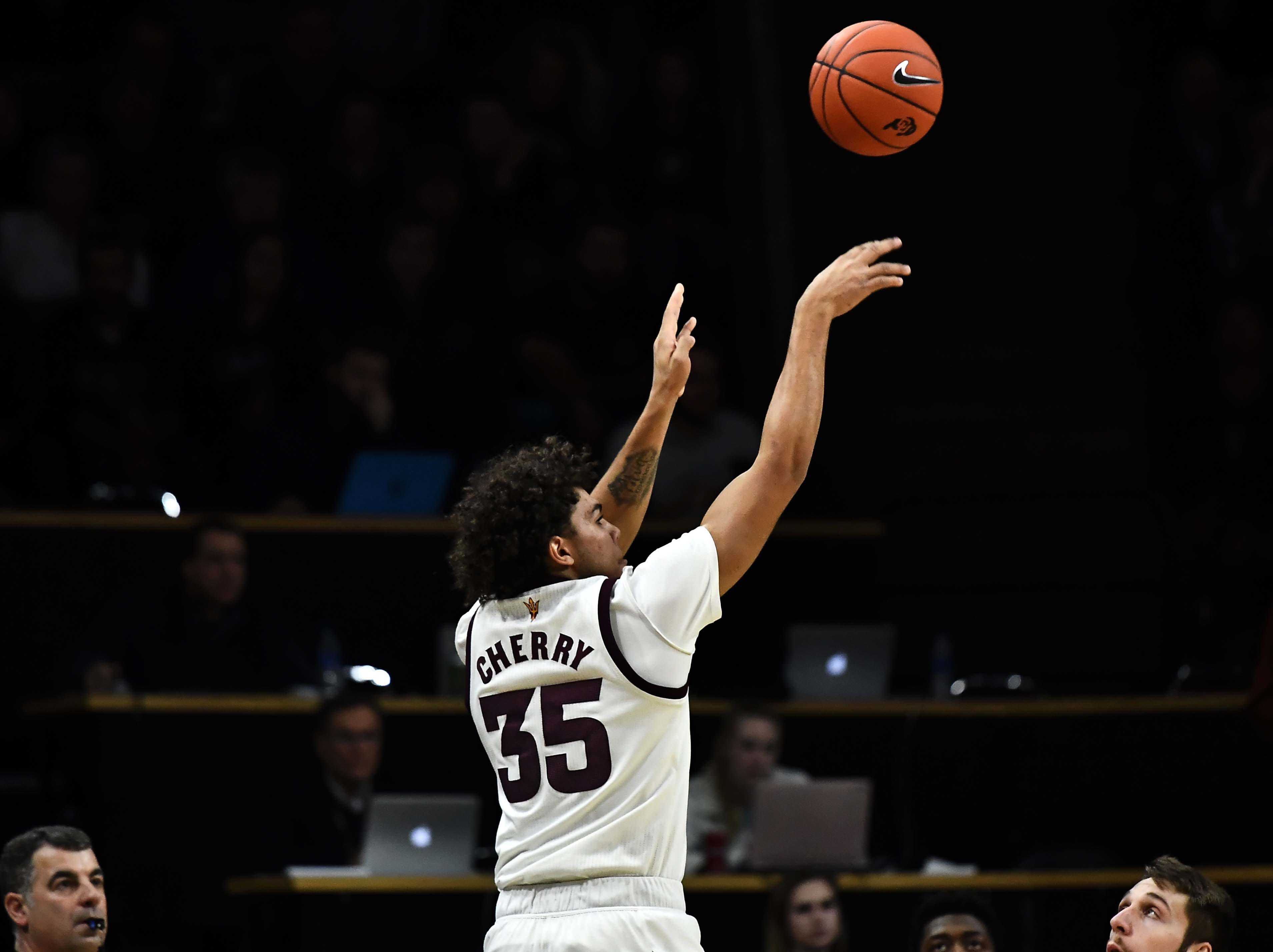 Feb 13, 2019; Boulder, CO, USA; Arizona State Sun Devils forward Taeshon Cherry (35) releases a shot in the first half against the Colorado Buffaloes at the CU Events Center. Mandatory Credit: Ron Chenoy-USA TODAY Sports