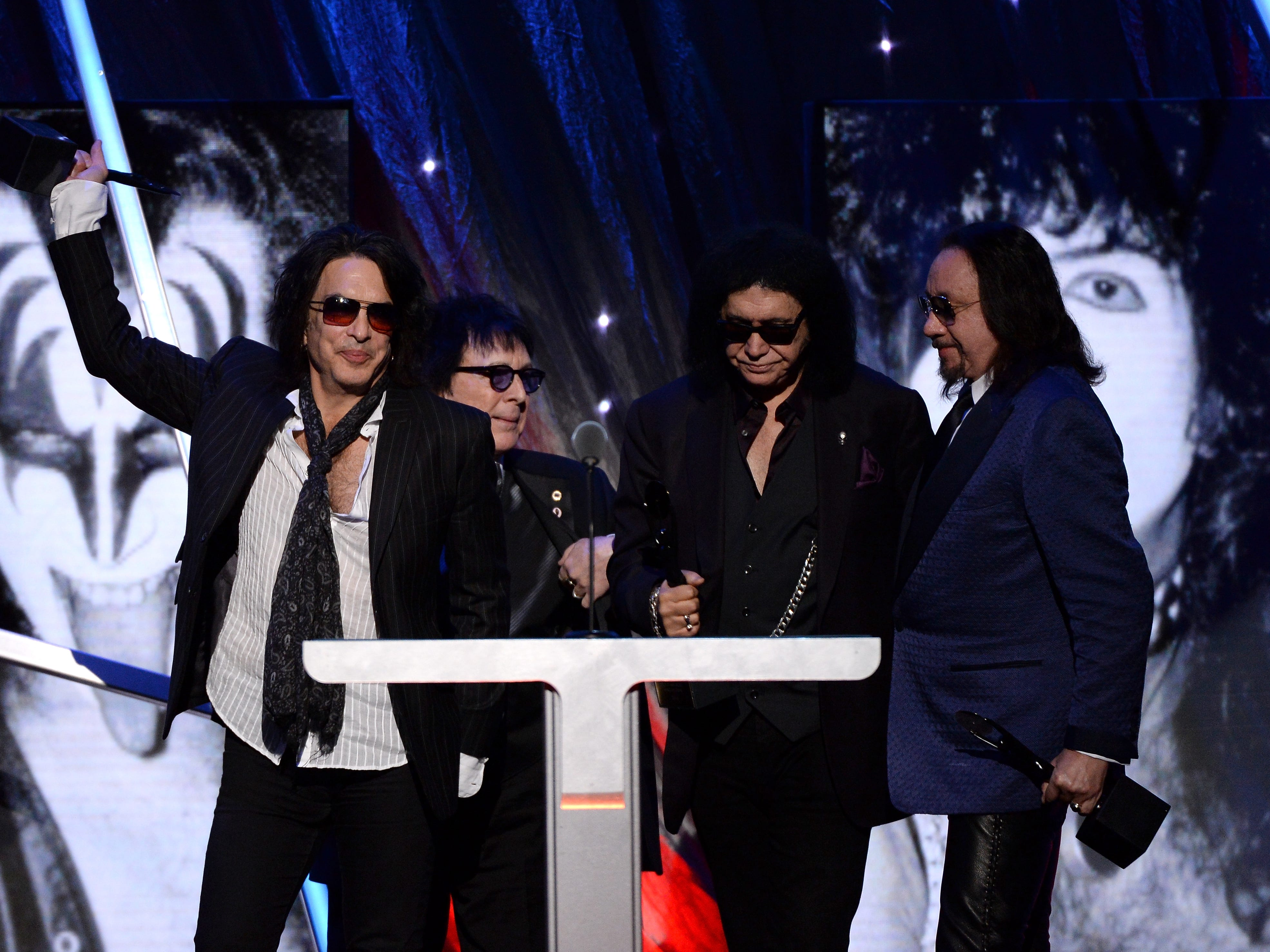 NEW YORK, NY - APRIL 10:  (L-R) Inductees Paul Stanley, Peter Criss, Gene Simmons and Ace Frehley of KISS speak onstage at the 29th Annual Rock And Roll Hall Of Fame Induction Ceremony at Barclays Center of Brooklyn on April 10, 2014 in New York City.  (Photo by Larry Busacca/Getty Images)