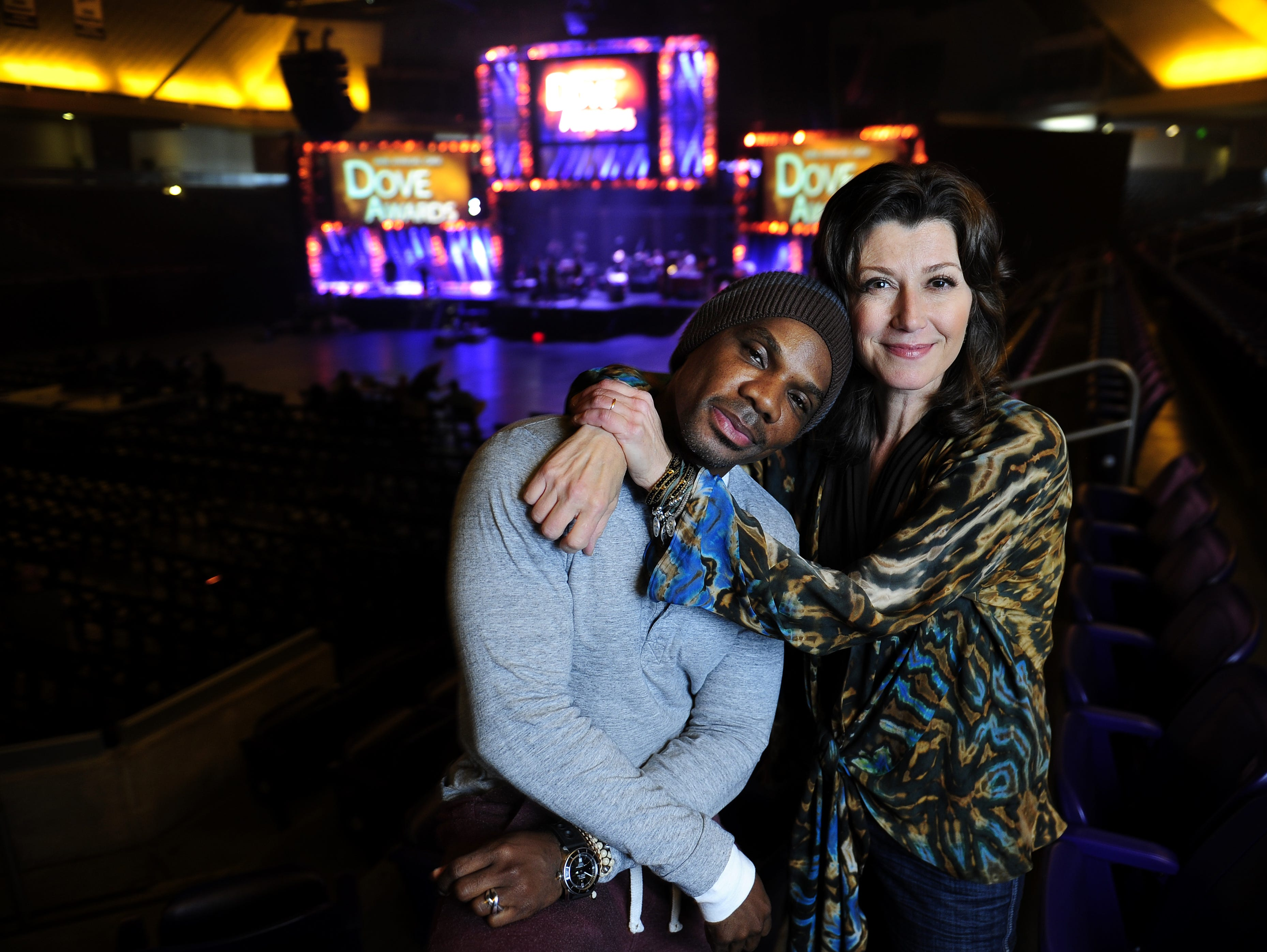 Kirk Franklin and Amy Grant co-hosted the Dove Awards in 2013.