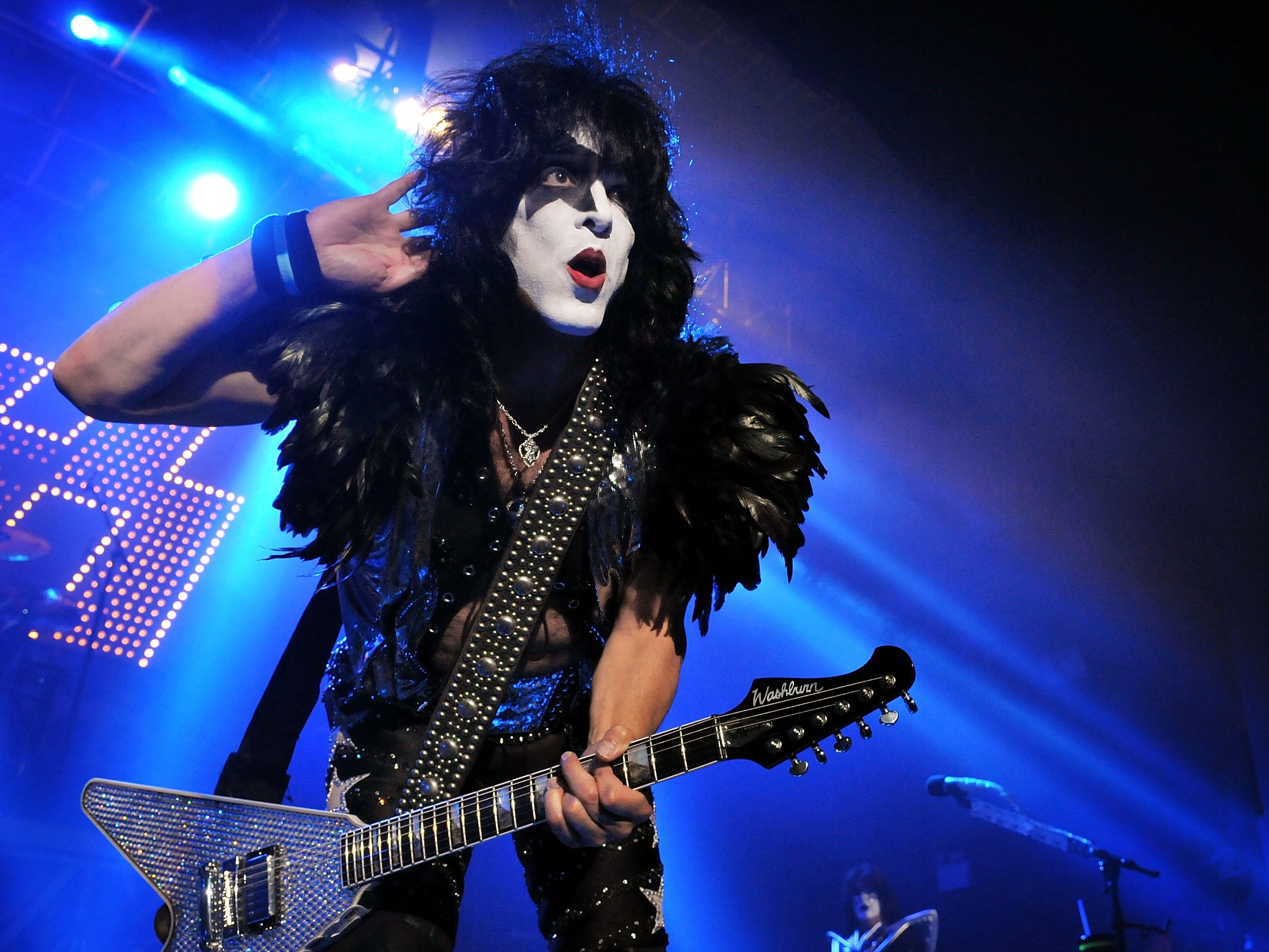 LONDON, ENGLAND - JULY 04:  Paul Stanley of US rock group Kiss performs live on stage, for a one-off Independence Day show as a fundraiser for the Help for Heroes charity, at The Kentish Town Forum on July 4, 2012 in London, England.  (Photo by Jim Dyson/Getty Images)