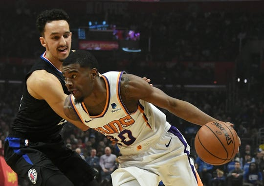 Feb 13, 2019; Los Angeles, CA, USA; Phoenix Suns forward Josh Jackson (20) drives to the basket against LA Clippers guard Landry Shamet in the first half at Staples Center. Mandatory Credit: Richard Mackson-USA TODAY Sports