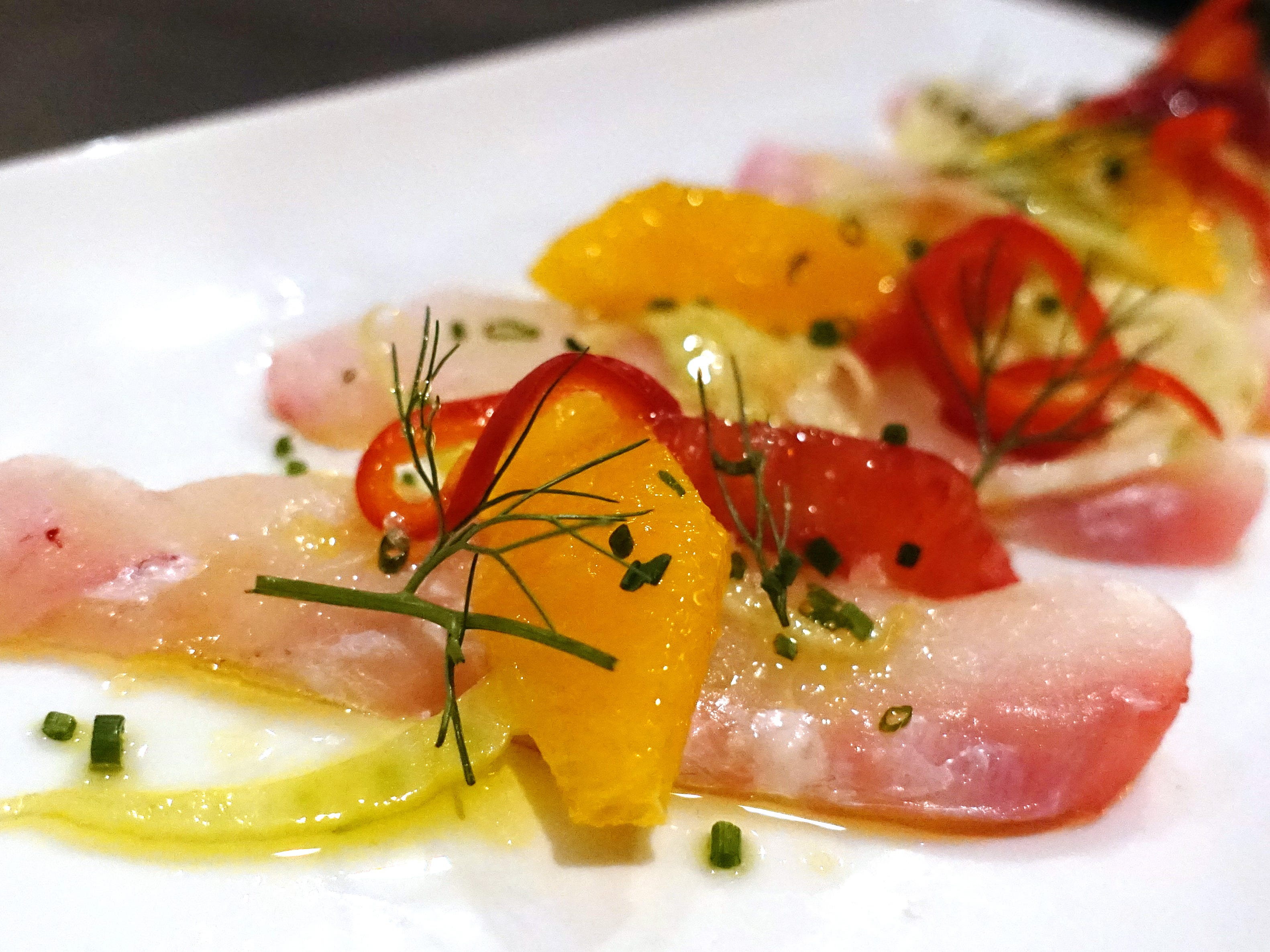 Halibut crudo with local citrus, pickled chiles and marinated fennel at Hush Public House in Scottsdale.