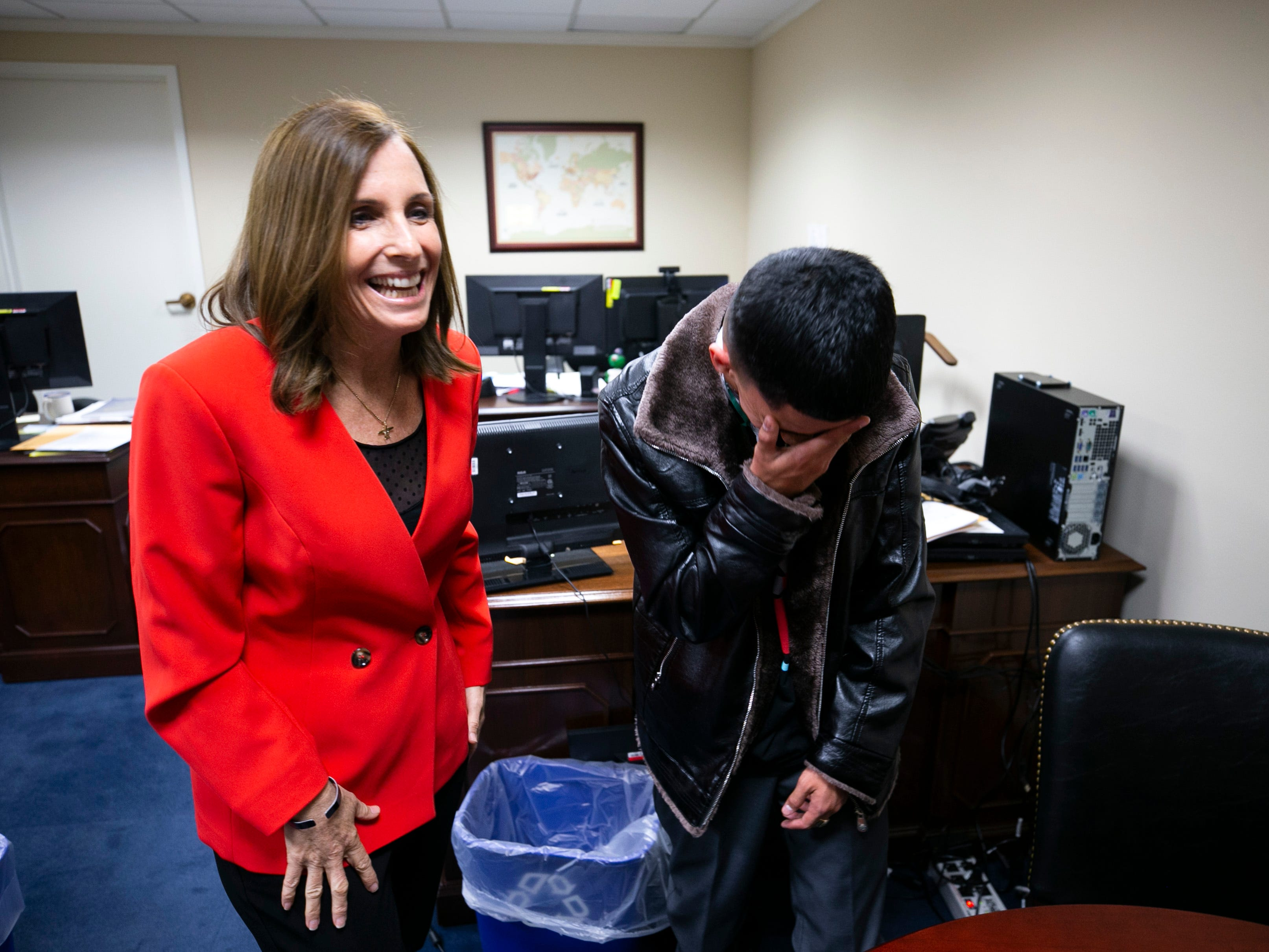U.S. Senator Martha McSally, R-Ariz. talks with Isaiah Acosta, a 19-year-old rapper from Phoenix, who was born without a lower jaw, at the McSally's office at the Dirksen Senate Office Building in Washington DC on February 5, 2019. Acosta will be Senator McSally's guest tonight at the State of the Union.