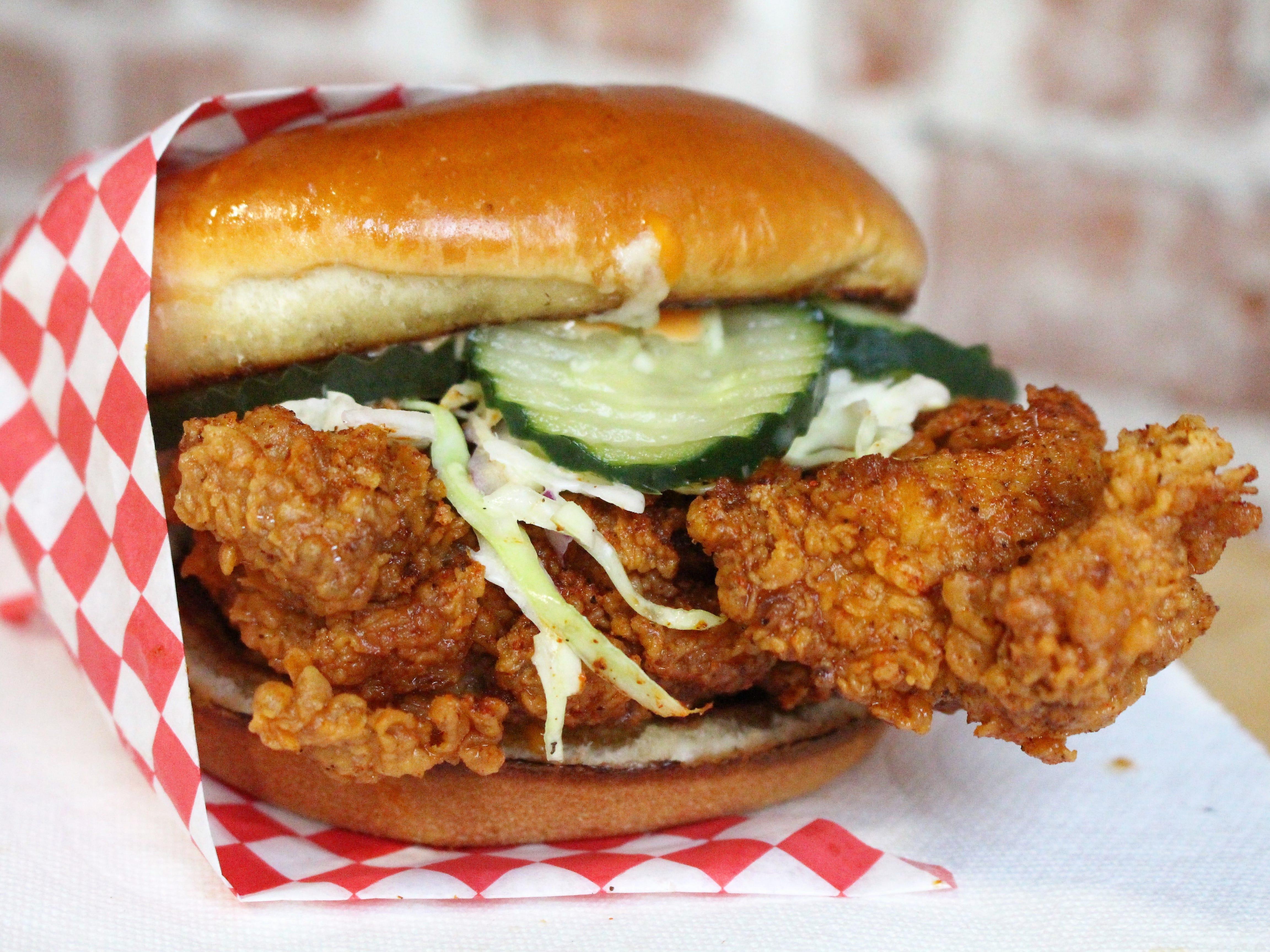 The fried chicken sandwich at Monroe's Hot Chicken in downtown Phoenix.