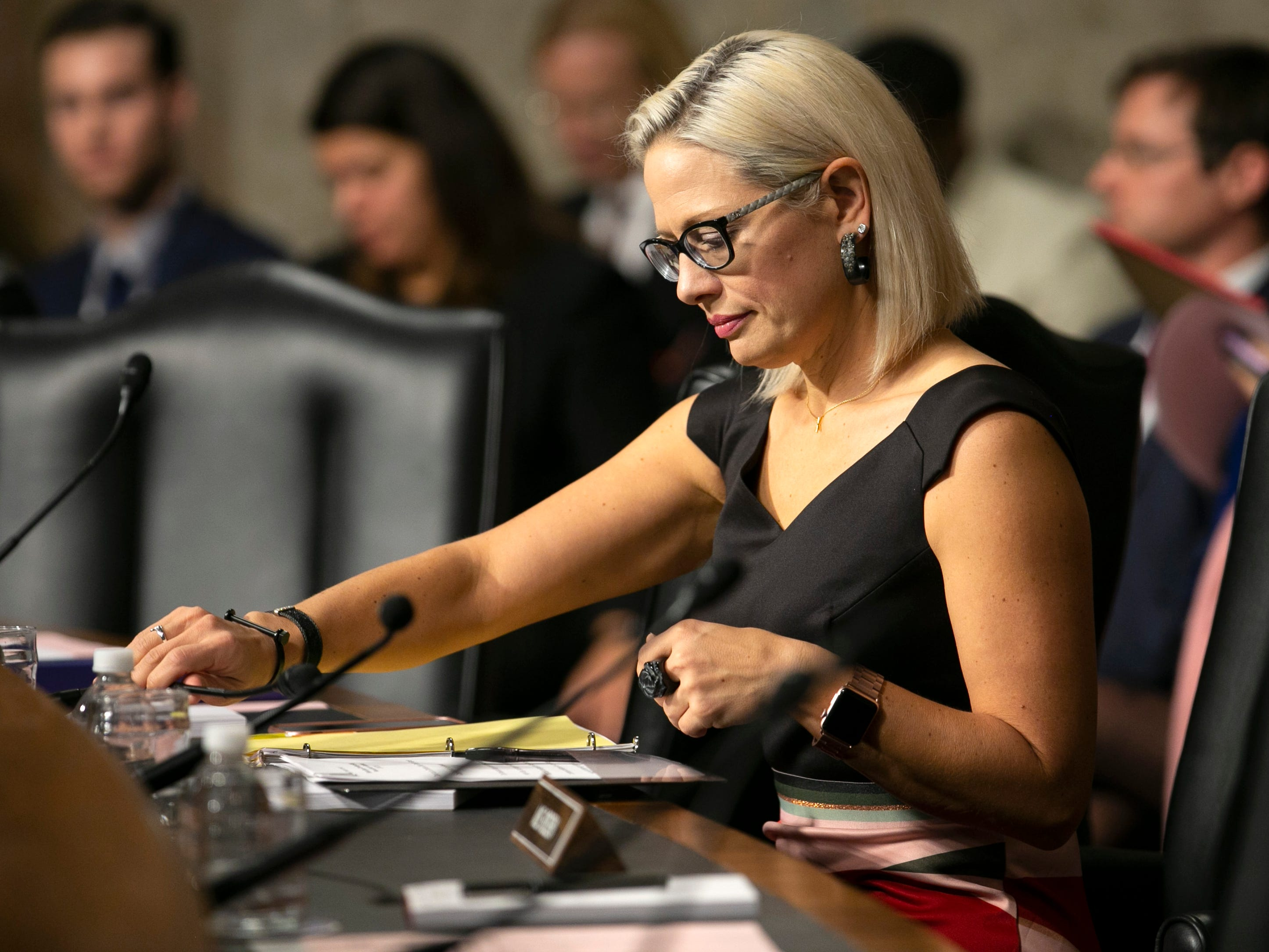 U.S. Sen. Kyrsten Sinema, D.-Ariz., listens during the U.S. Senate Committee on Commerce, Science and Transportation at the U.S. Capitol in Washington D.C. on Feb. 6, 2019.