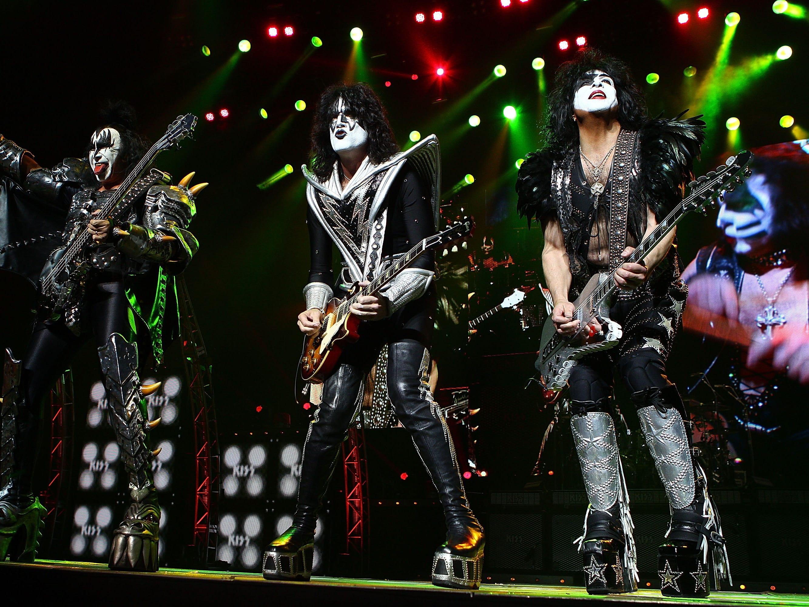 PERTH, AUSTRALIA - FEBRUARY 28:  KISS perform live on stage as part of their Monster Tour with Motley Crue and Thin Lizzy at Perth Arena on February 28, 2013 in Perth, Australia.  (Photo by Paul Kane/Getty Images)