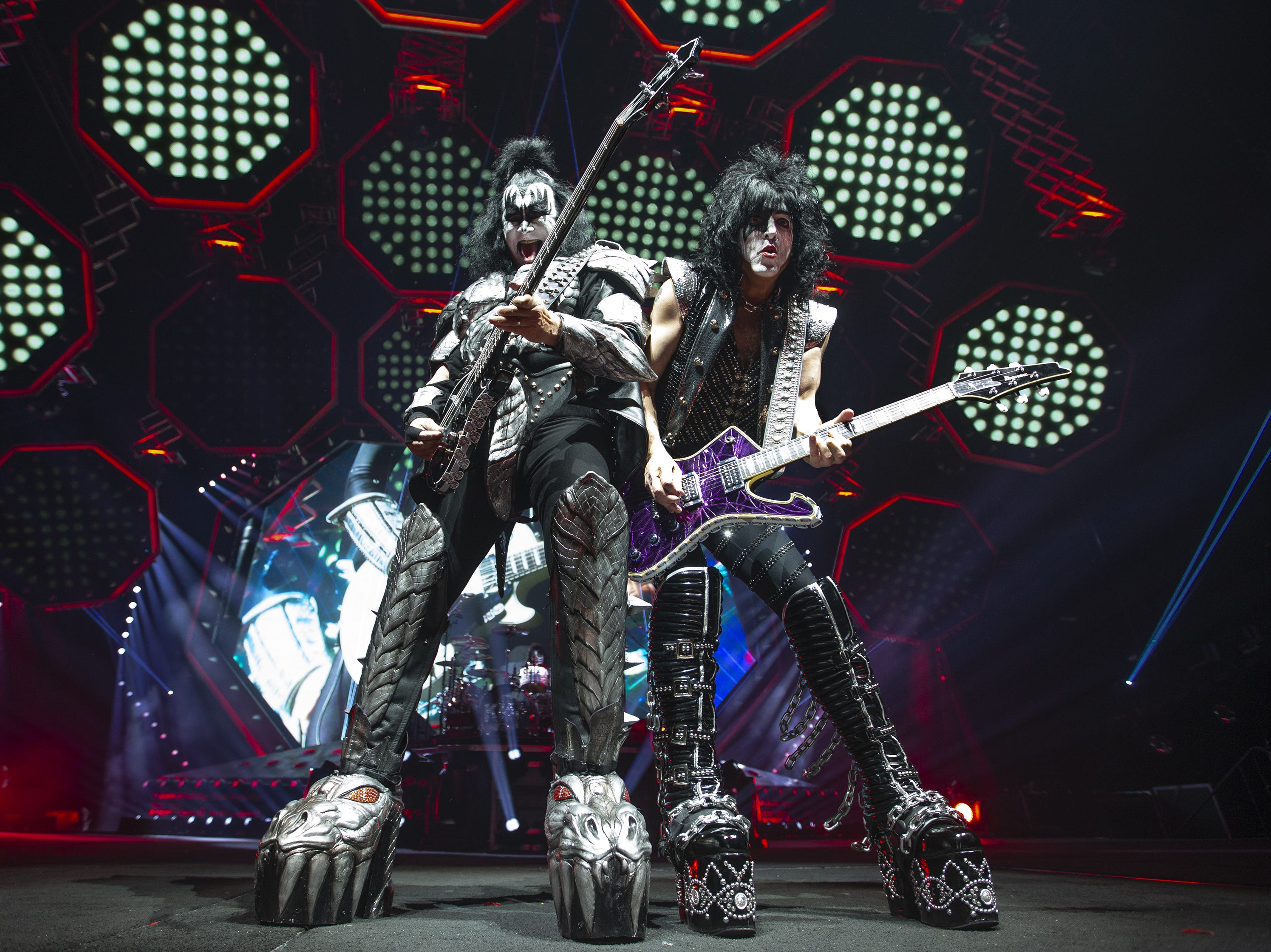 "Gene Simmons and Paul Stanley of KISS play ""Shout It Out Loud"" at Gila River Arena during the End of the Road World Tour stop in Glendale on Wednesday, Feb. 13, 2019.  Thousands of fans came to see the band's farewell concert."