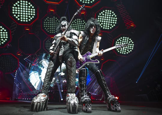 """Gene Simmons and Paul Stanley of KISS play """"Shout It Out Loud"""" at Gila River Arena during the End of the Road World Tour stop in Glendale on Wednesday, Feb. 13, 2019.  Thousands of fans came to see the band's farewell concert."""