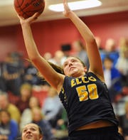 Ryelle Shuey scored the tying bucket at the buzzer in regulation and the go-ahead basket in overtime, finishing with 17 points and 10 rebounds in Elco's dramatic 36-34 OT win.