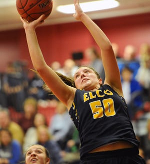 Ryelle Shuey scored the tying bucket at the buzzer in regulation and the go-ahead basket in overtime, finishing with 17 points and 10 rebounds in Elco's dramatic 36-34 OT win over Cedar Crest in the L-L semifinals.