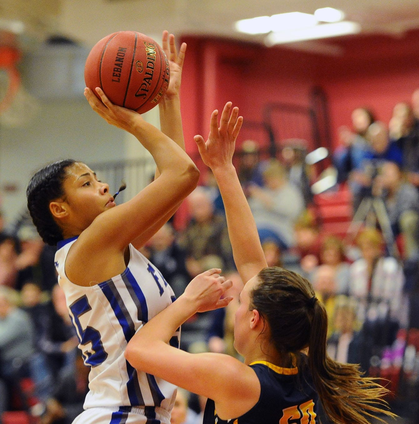 Raven Morgan (35) from Cedar Crest shots over Ryelle Shuey.