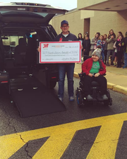 Through the efforts of the JETT Foundation, a Duchenne Muscular Dystrophy Non-profit from Plymouth, MA that helps affected families, Cedar Crest Middle School student Levi Hains and his family now have the assistance of a handicapped-accessible van to help Levi in his daily life. Levi and his family celebrated the arrival of the van yesterday at the middle school with the students.