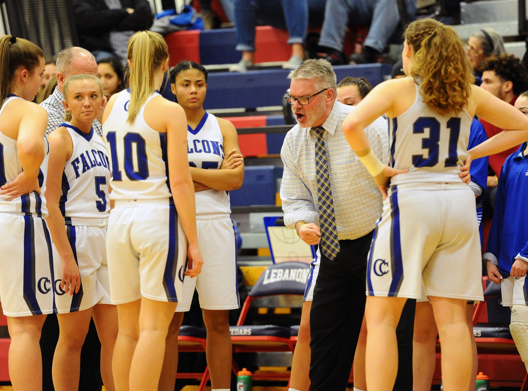 Cedar Crest head coach Jim Donmoyer tries to get things in-order during a time out.