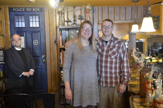 From left, the Rev. Pat Thompson officiated the wedding of Kathrine Campbell and Kyle Wilson at Raven Cafe in Port Puron on Feb. 14, 2019.