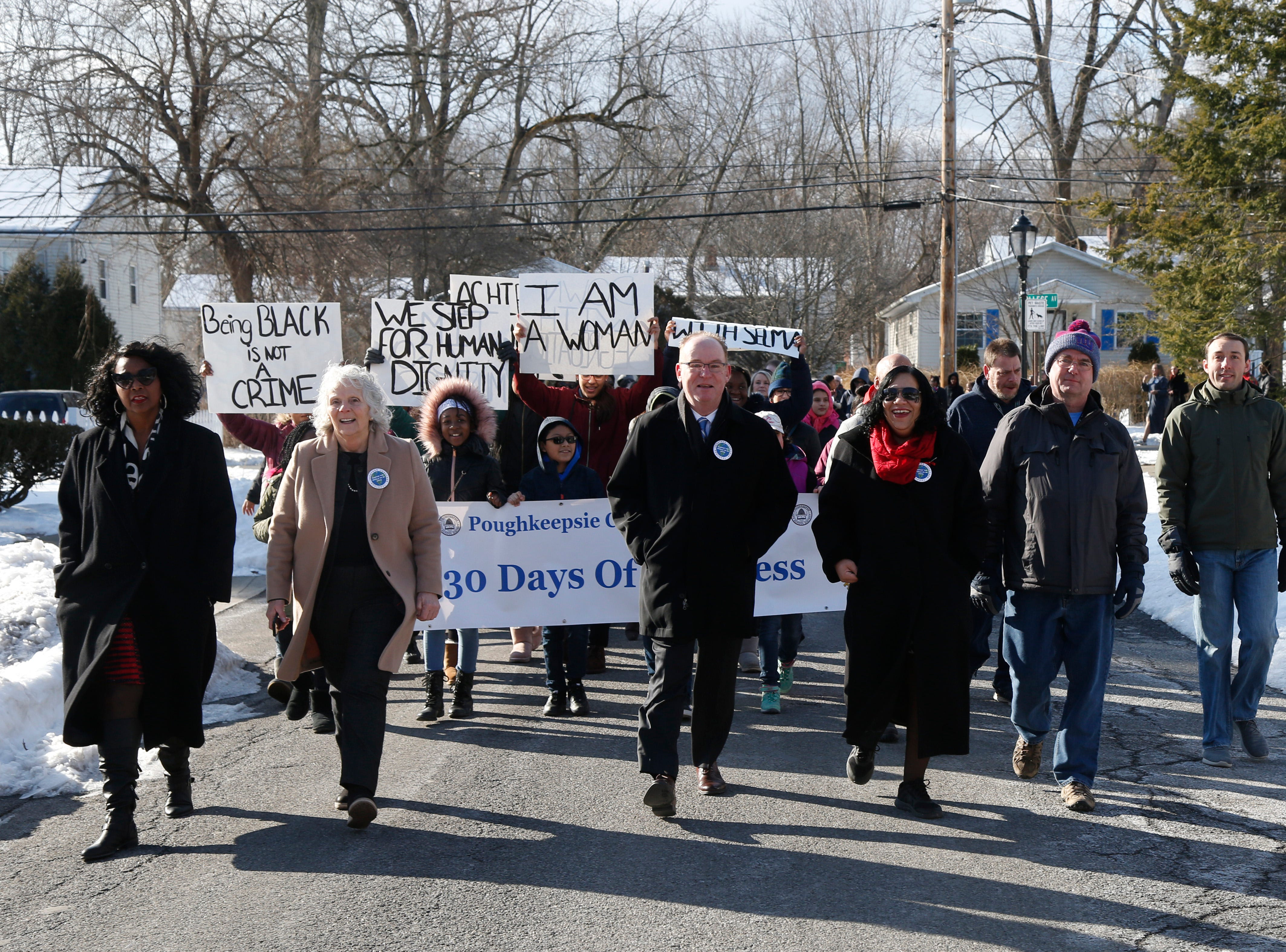 Joined by distirict administration and local politicians, students from the City of Poughkeepsie school district participate in Thursday's Martin Luther King Celebration, including a peace walk at Poughkeepsie High School on February 14, 2019.