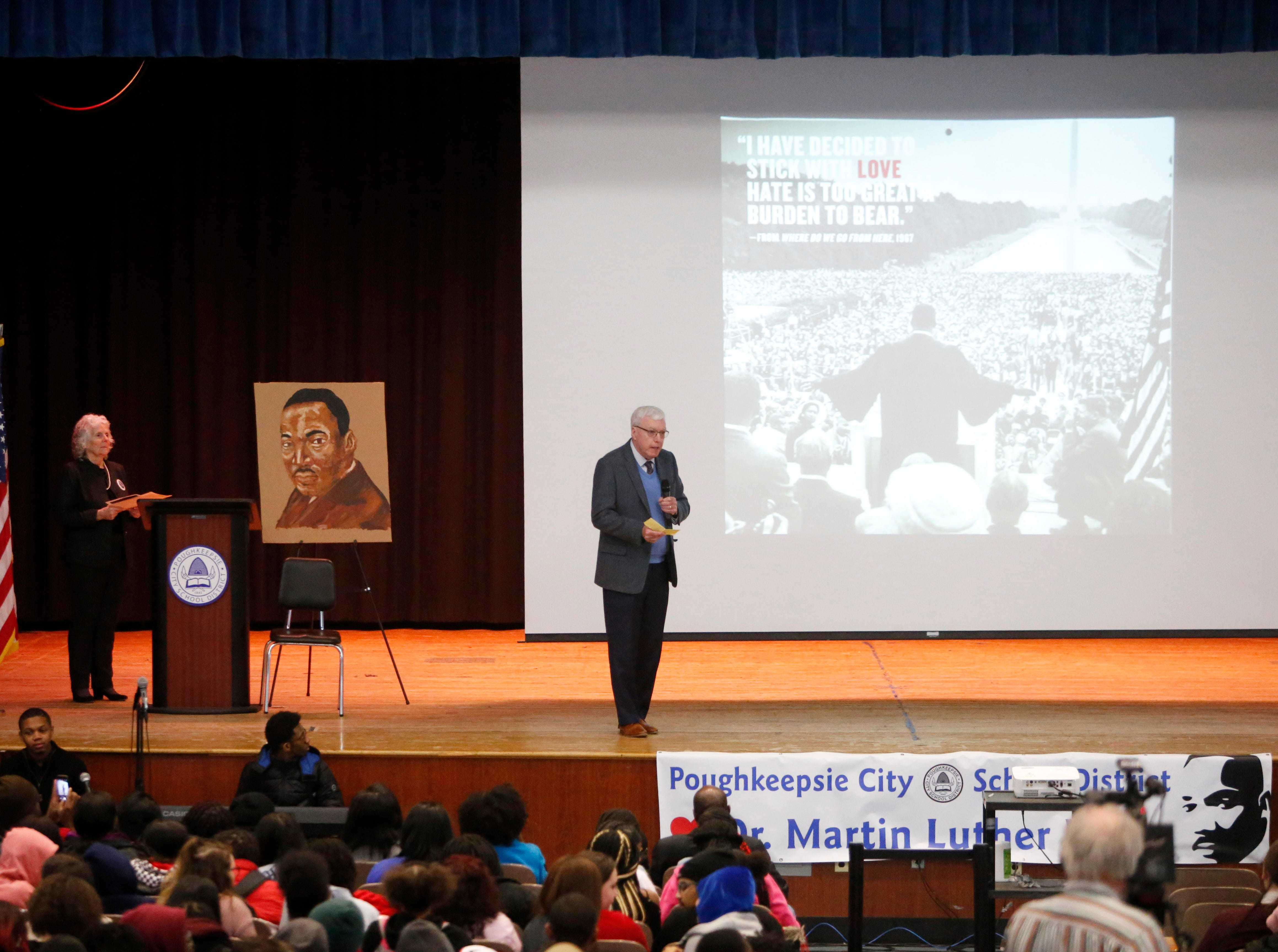 Retired City of Poughkeepsie Court judge Thomas J. O'Neill speaks during Thursday's Martin Luther King Celebration at Poughkeepsie High School on February 14, 2019.