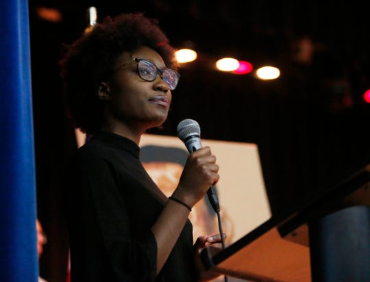 Cassidy Douglas from the Poughkeepsie High School student government speaks during Thursday's Martin Luther King Celebration at Poughkeepsie High School on February 14, 2019.
