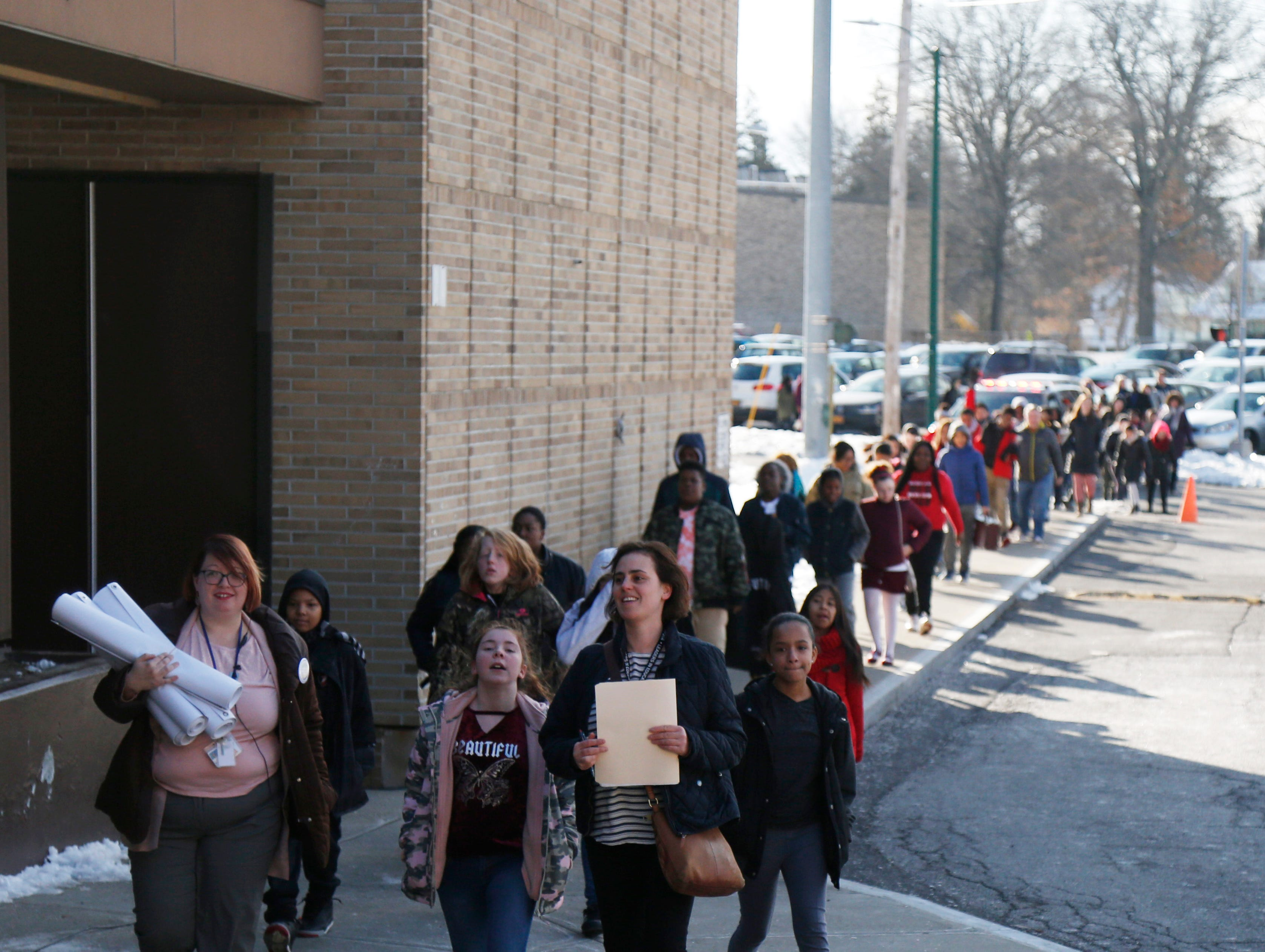 Students from Poughkeepsie Middle School arrive to participate in Thursday's Martin Luther King Celebration at Poughkeepsie High School on February 14, 2019.