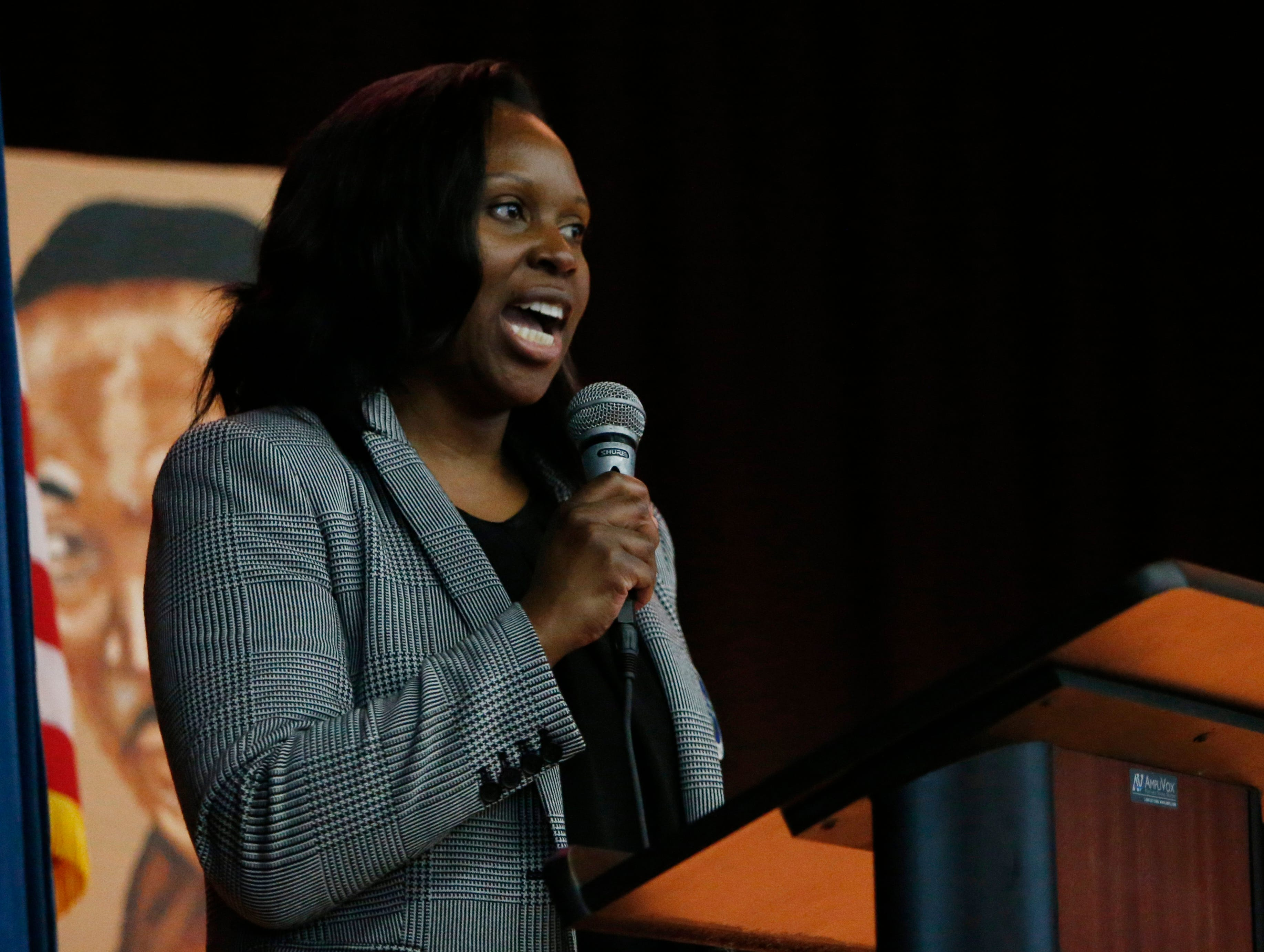 Karmen Smallwood of the Dutchess County Office of Probation and Criminal Corrections  speaks to students during Thursday's Martin Luther King Celebration at Poughkeepsie High School on February 14, 2019.