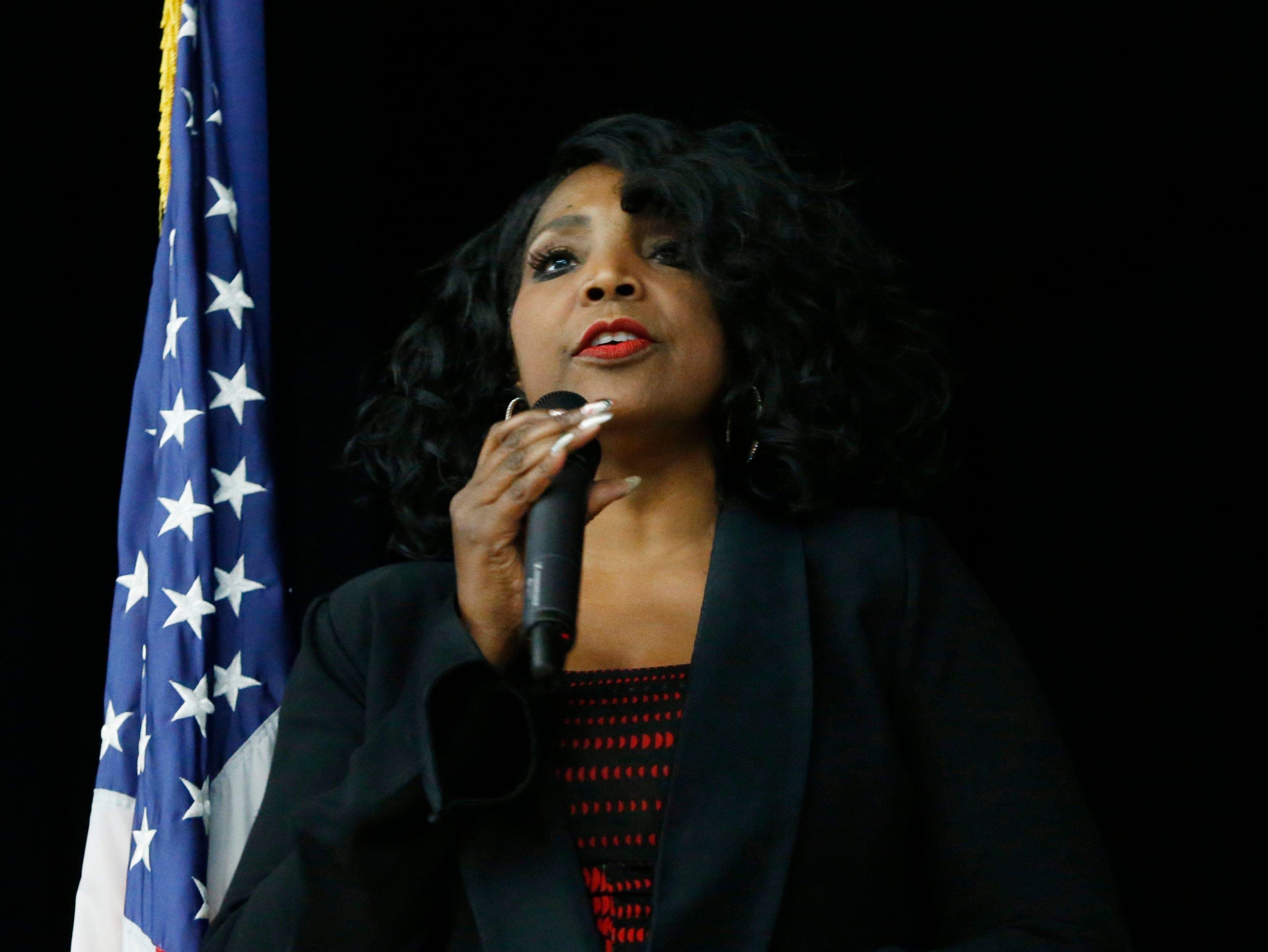 Poughkeepsie City School District school board president, Felicia Watson speaks during Thursday's Martin Luther King Celebration at Poughkeepsie High School on February 14, 2019.