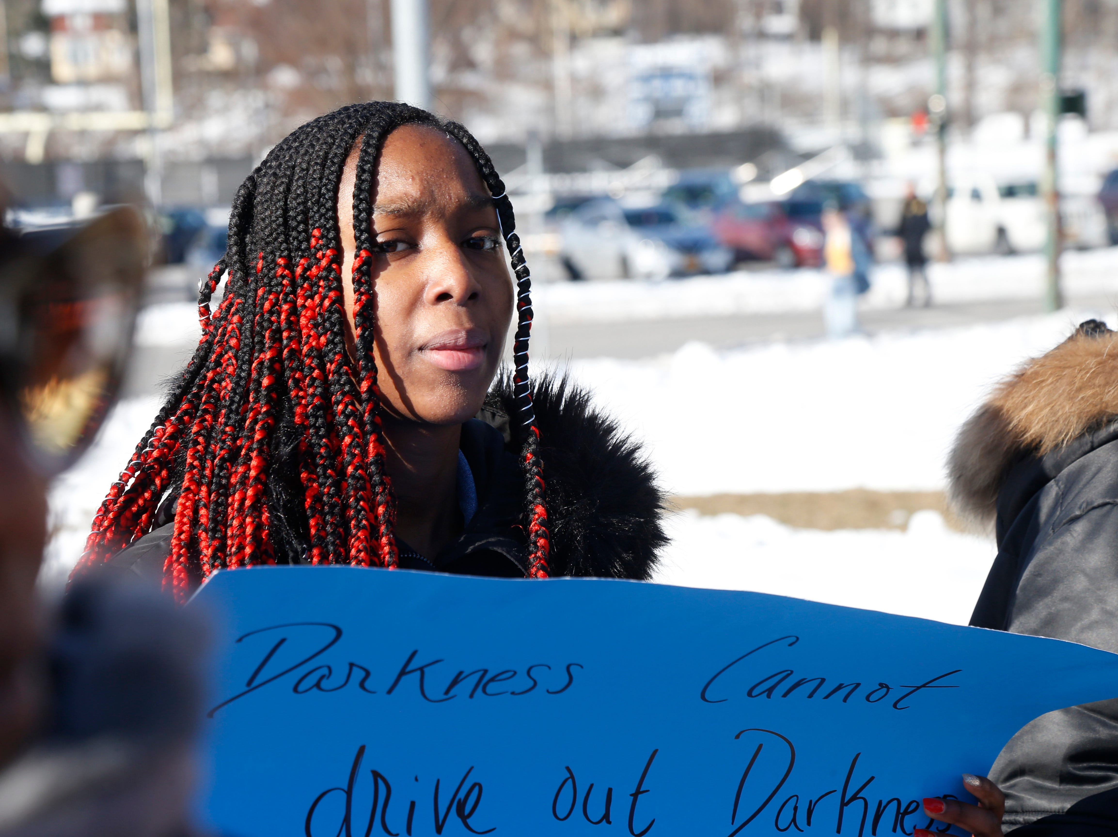 Christina Stone, an 8th grade student at Poughkeepsie Middle School participates in Thursday's peace walk as part of the district's Martin Luther King Celebration at Poughkeepsie High School on February 14, 2019.