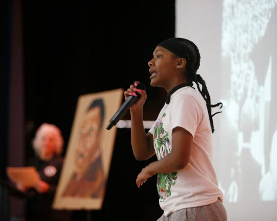 Poughkeepsie Middle School student Navaeah Barrington performs during Thursday's Martin Luther King Celebration at Poughkeepsie High School on February 14, 2019.