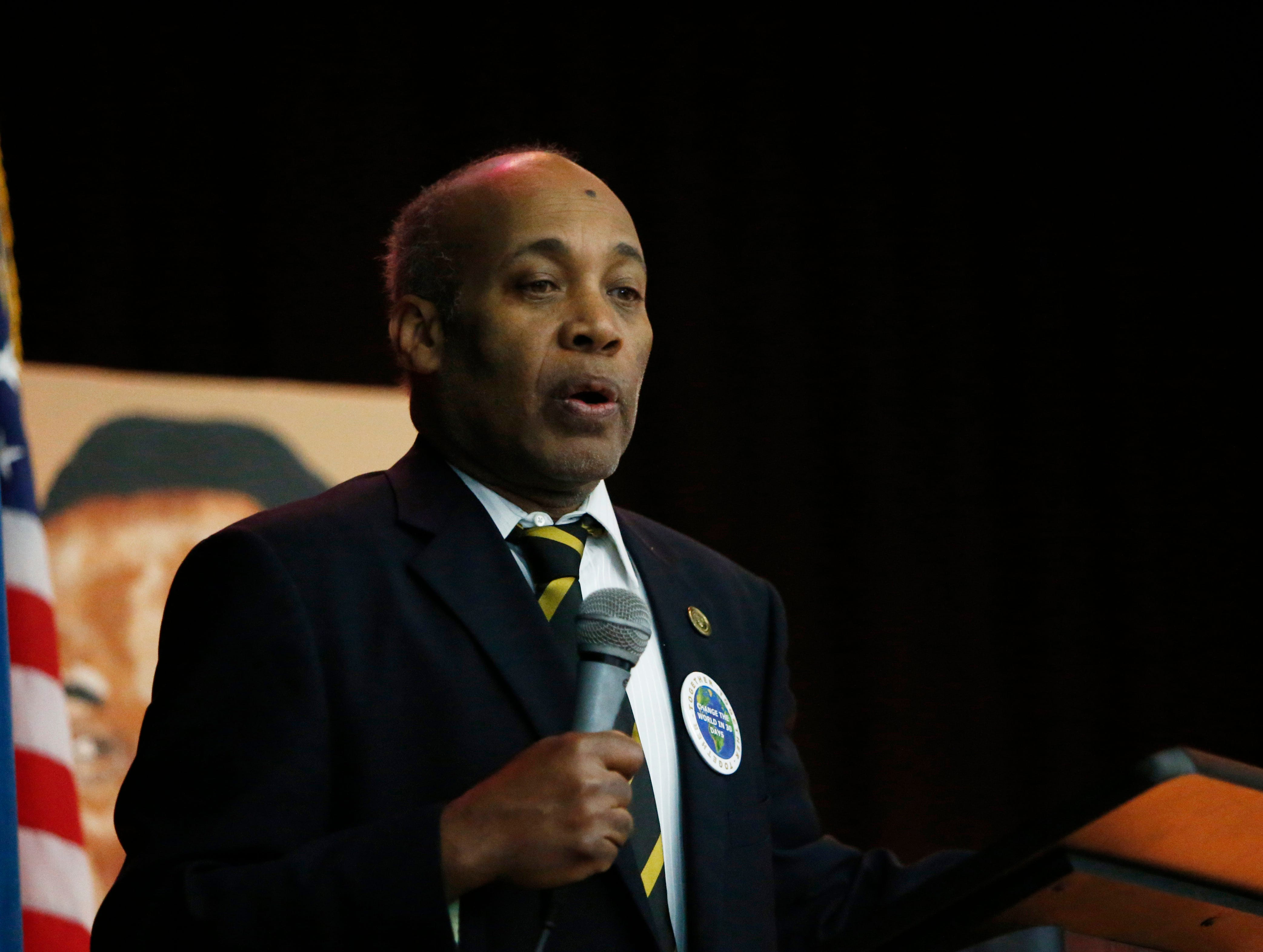 John Murphy, a representative from Alpha Phi Alpha Fraternity speaks during Thursday's Martin Luther King Celebration at Poughkeepsie High School on February 14, 2019. Martin Luther King, Jr. was a member of the same fraternity.