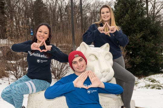 Kelsey Haines, 20, (left), Justin Neal, 19, (center) and Yaribeth Ocasio, 19, (right) were chosen by Penn State York to represent their campus at Penn State's THON, a 46-hour dance marathon to support the fight against pediatric cancer, from Feb. 15-17. (Photo: Barbara Dennis)