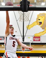 Central York's Braden Richard dunks the ball during York-Adams League boys' basketball semifinal game action against New Oxford at Red Lion Area High School in Red Lion, Wednesday, Feb. 13, 2019. New Oxford would win 43-41. Dawn J. Sagert photo
