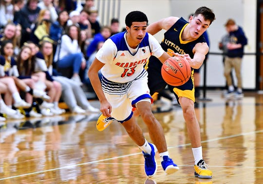 Littlestown senior guard Logan Collins, shown here playing defense in a game this past season, committed to York College on Sunday. Dawn J. Sagert photo