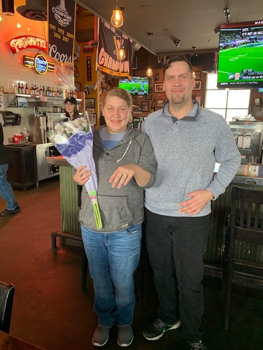 Michael and Cynthia got engaged at a Primanti Bros in York on Valentine's Day for a promotion that grants them an all-expense paid group wedding this summer.