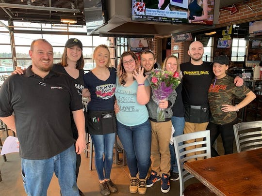 Austin and Brianne got engaged at a Primanti Bros in York for a promotion that grants them an all-expense paid group wedding this summer.