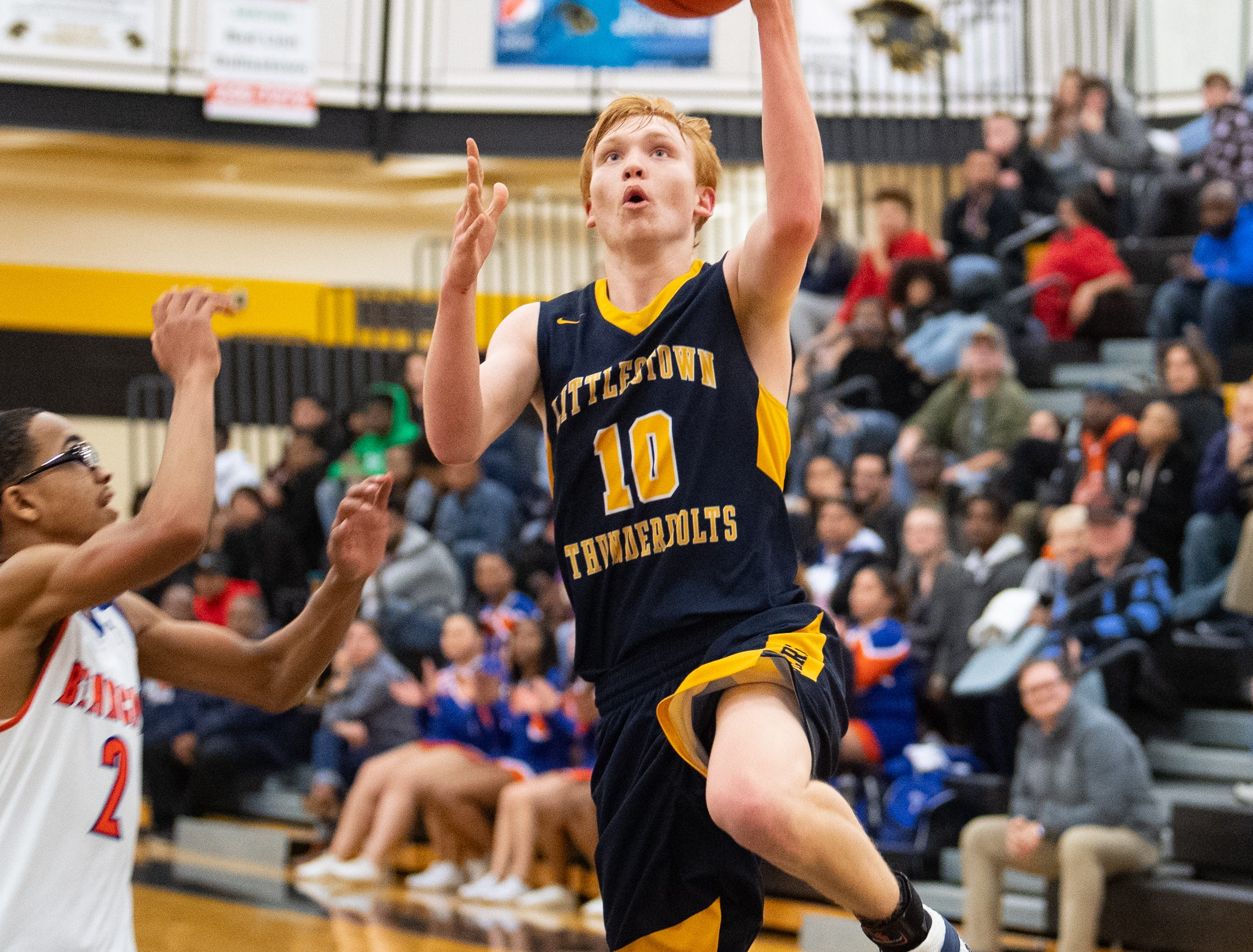 Littlestown's Dan Gazemen (10) finishes the fast break with a layup during the YAIAA boys' basketball semifinals between York High and Littlestown, Wednesday, February 13, 2019 at Red Lion Area High School. The Bearcats defeated the Thunderbolts 74 to 51.