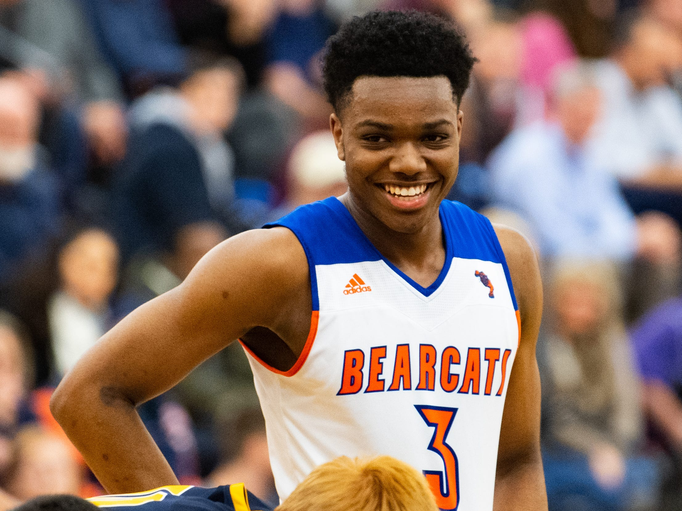 Clovis Gallon Jr. (3) smiles as the game comes to an end during the YAIAA boys' basketball semifinals between York High and Littlestown, Wednesday, February 13, 2019 at Red Lion Area High School. The Bearcats defeated the Thunderbolts 74 to 51.