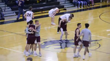 New Oxford's Justin Gruver hit a first-quarter buzzer-beater, heaving a shot that covered three-quarters of the court Wednesday, Feb. 13, 2019.